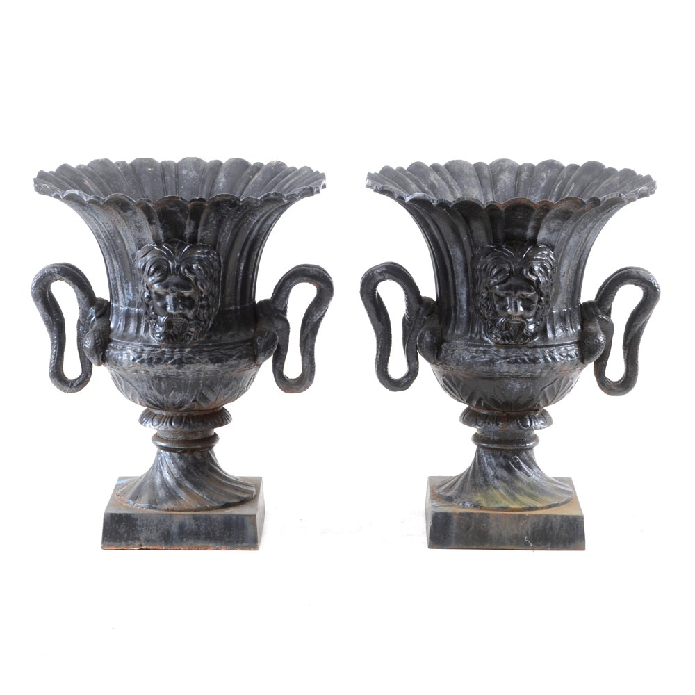 Pair of Large Black Neoclassical Style Cast Iron Planters