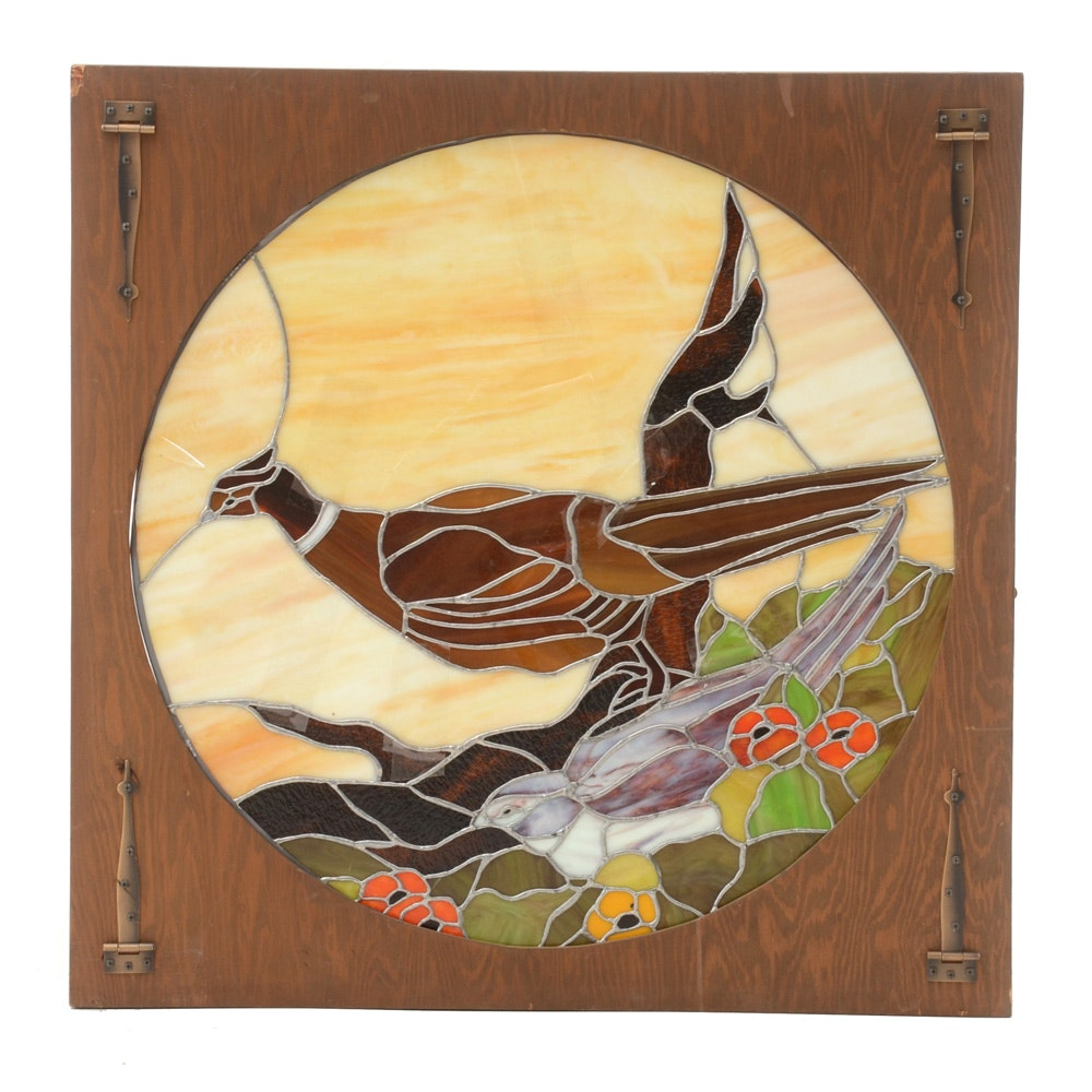 Stained Glass Pheasant Panel in Benchmade Pine Frame