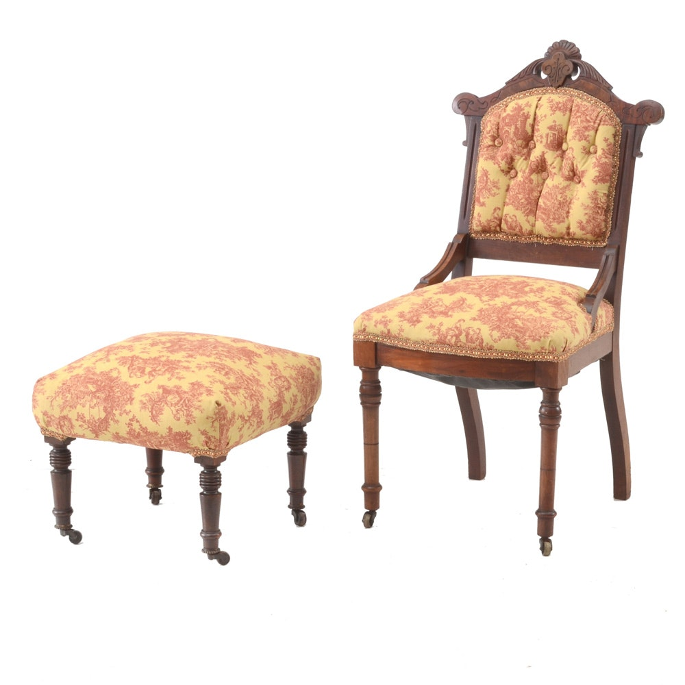 Antique Eastlake Side Chair and Footstool