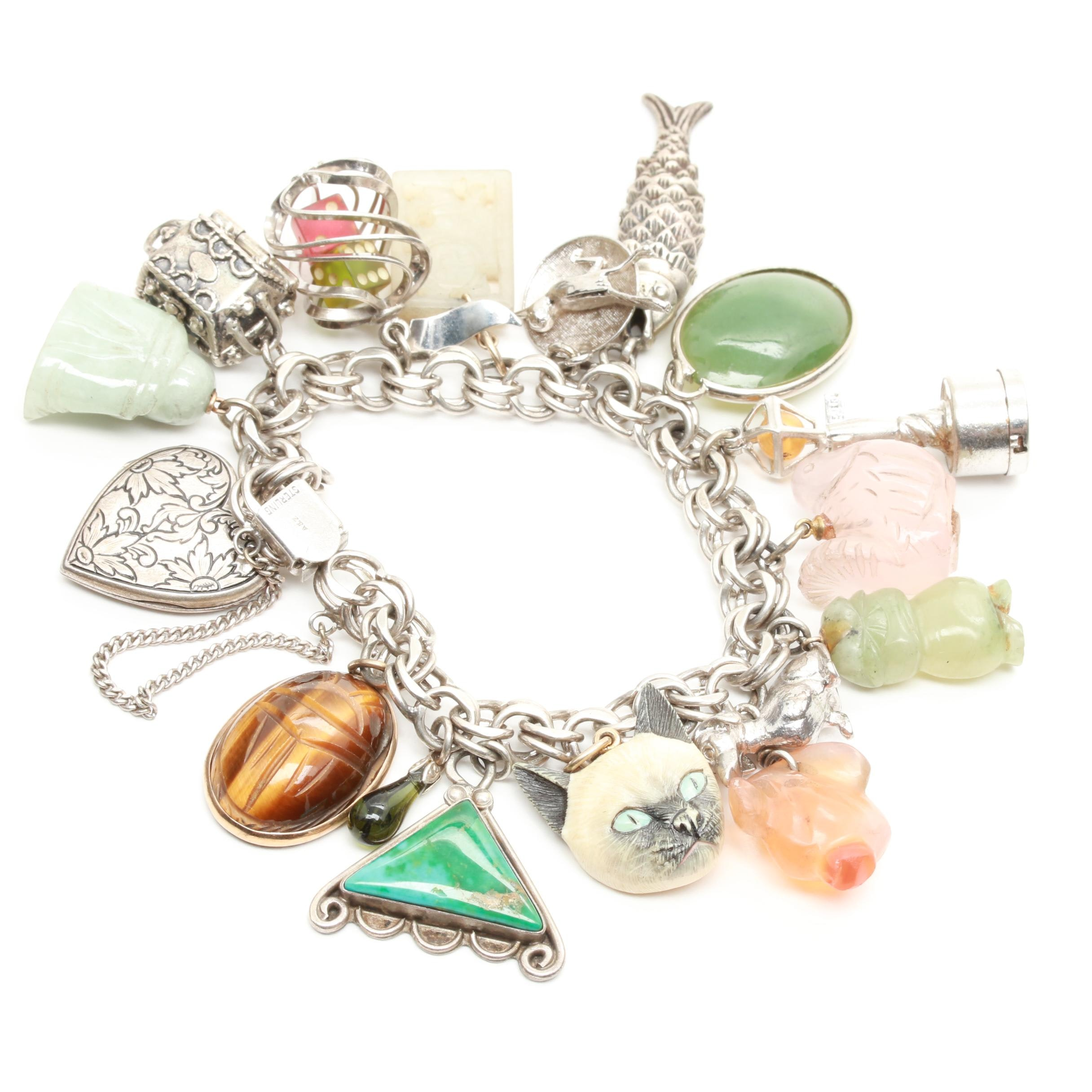 Sterling Silver Charm Bracelet Featuring Tiger's Eye, Agate, and Turquoise