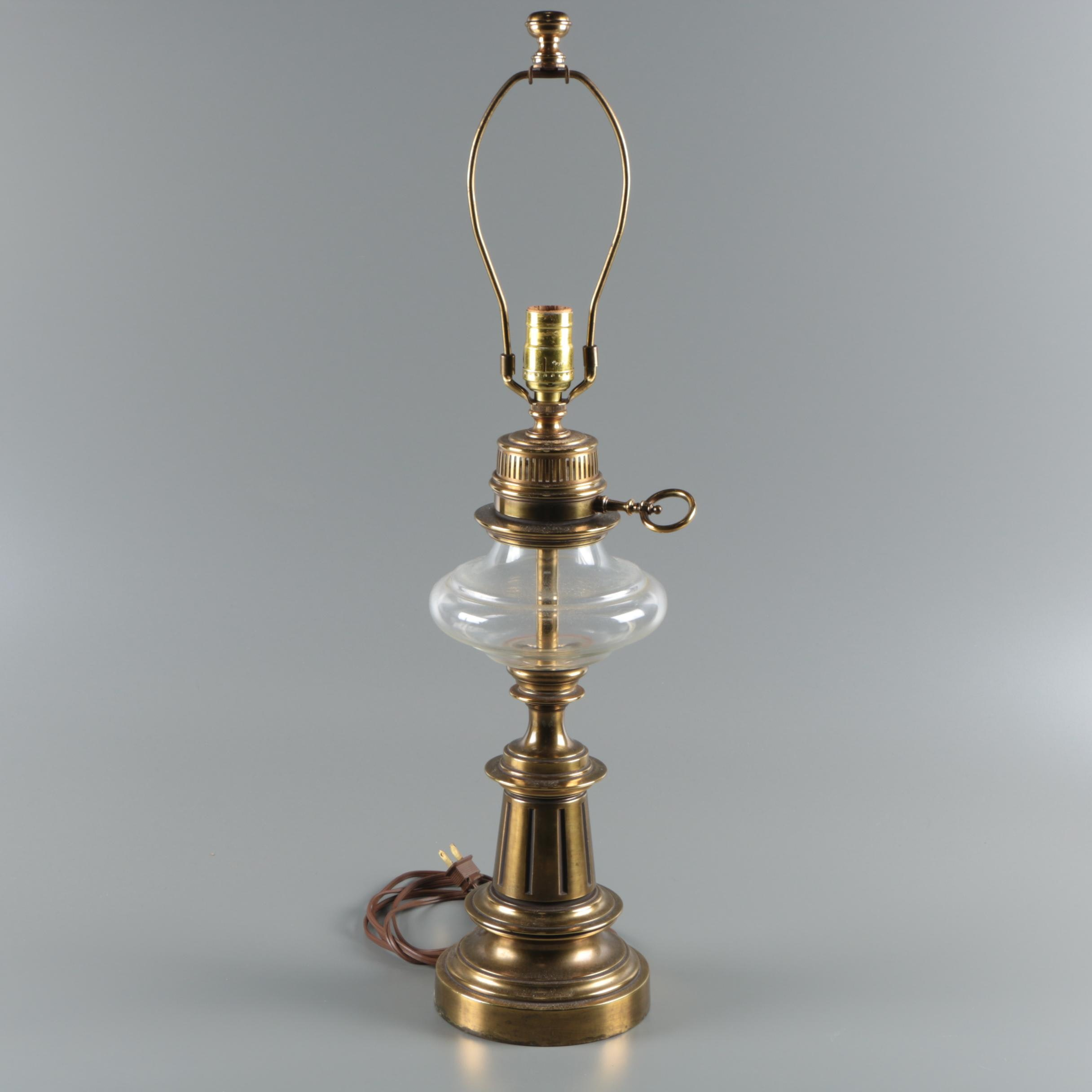 Brass and Glass Lantern Style Electrical Table Lamp