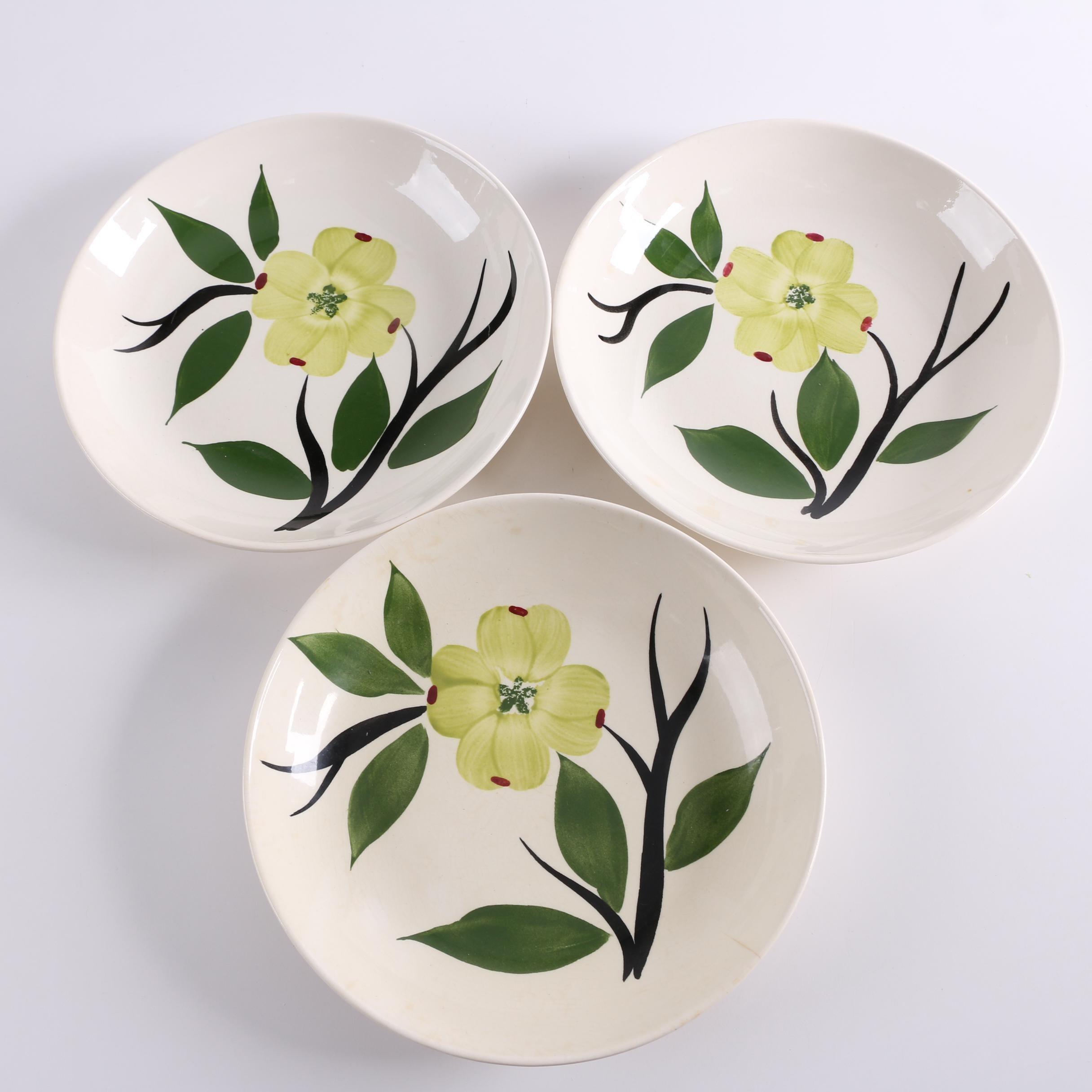 "Vintage Stetson ""Dixie Dogwood"" Hand-Painted Coupe Soup Bowls"