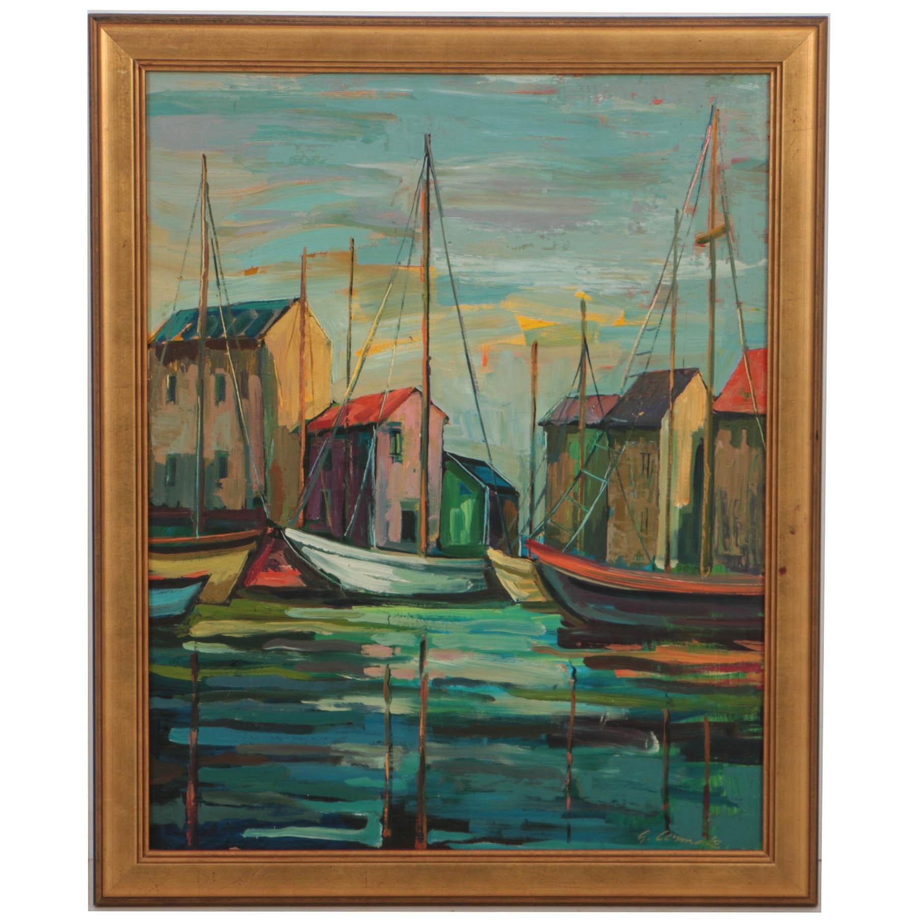 George Cermak Oil Painting on Board of Dock Scene