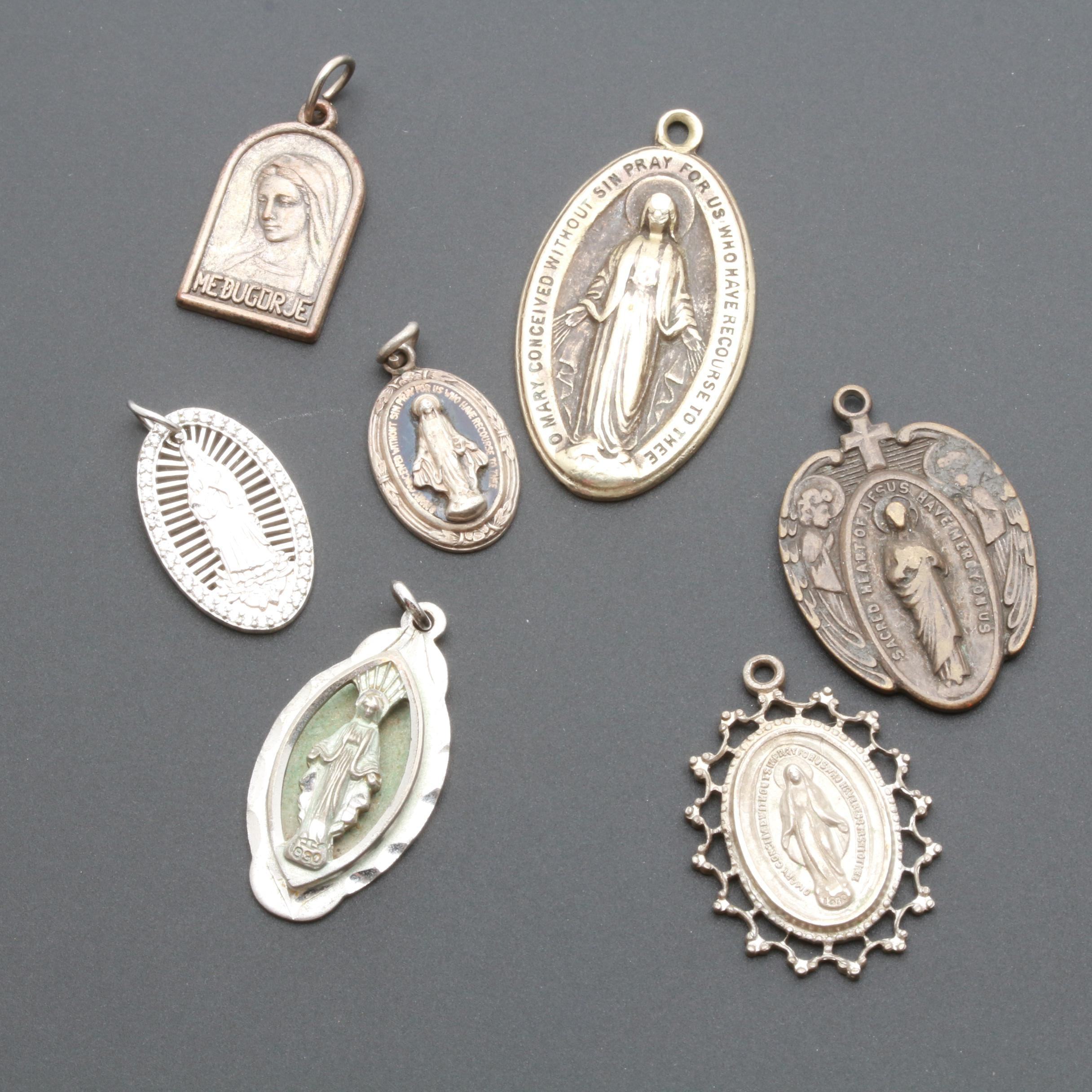 Sterling Silver and Base Metal Mother Mary Pendants