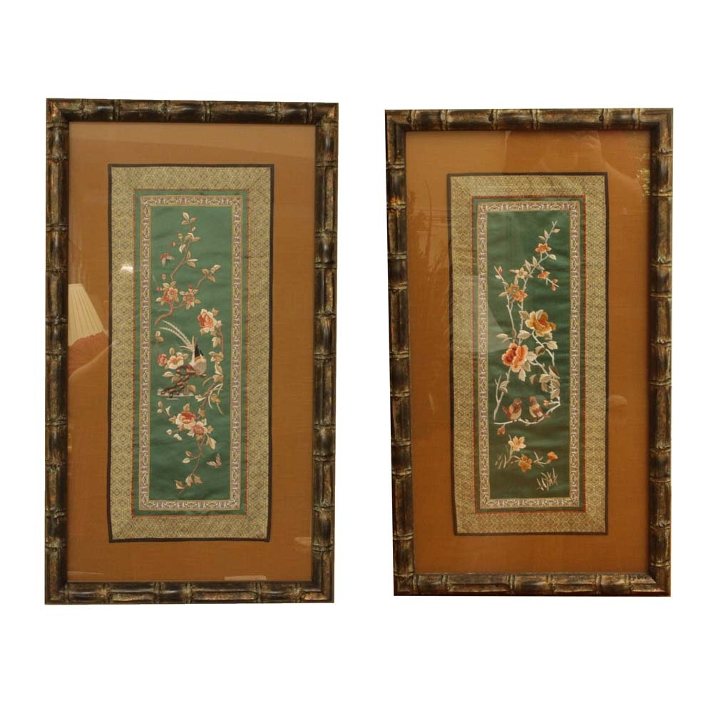 Pair of Framed Chinese Silk Embroidery Panels