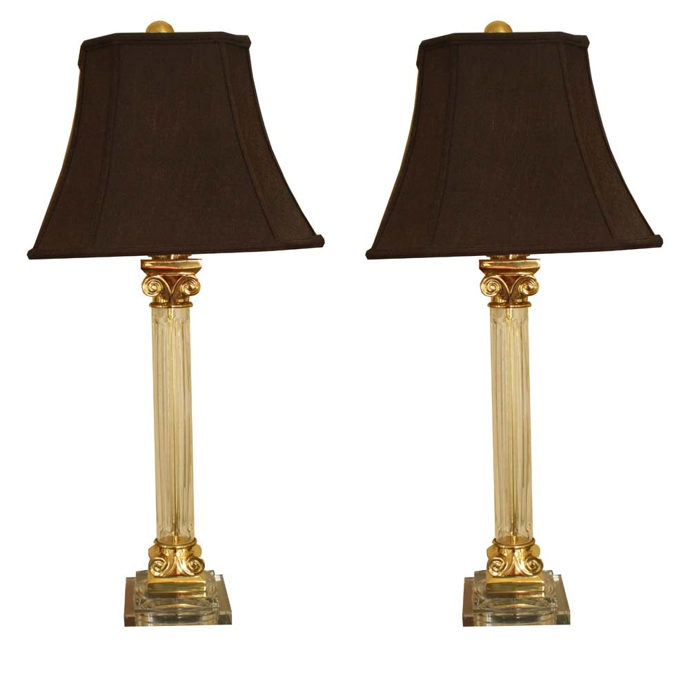 Pair of Neoclassical Inspired Glass Table Lamps