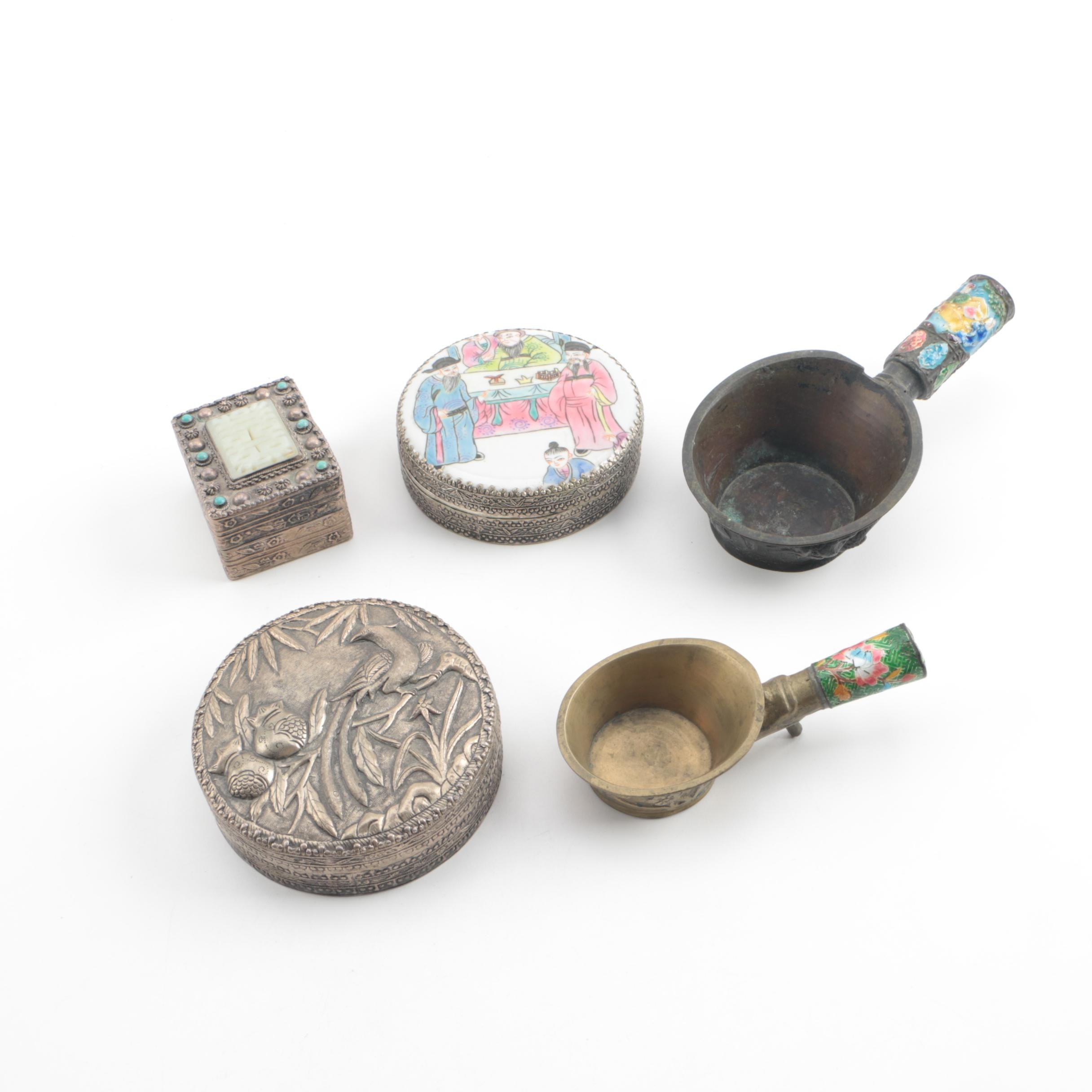 Chinese Style Decorative Metal Boxes and Enameled Silk Irons