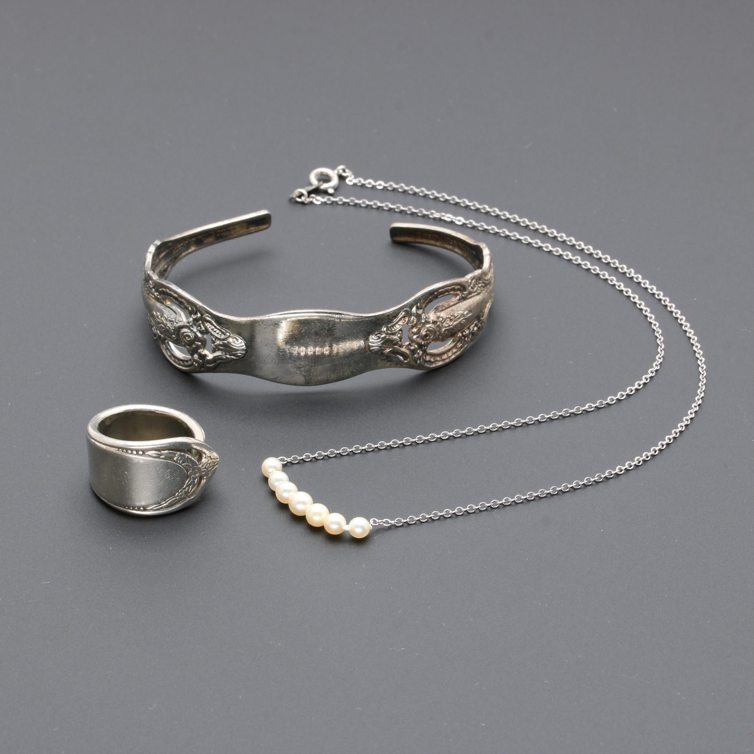 Jewelry Collection Including 999 Silver, Sterling Silver, and Cultured Pearls