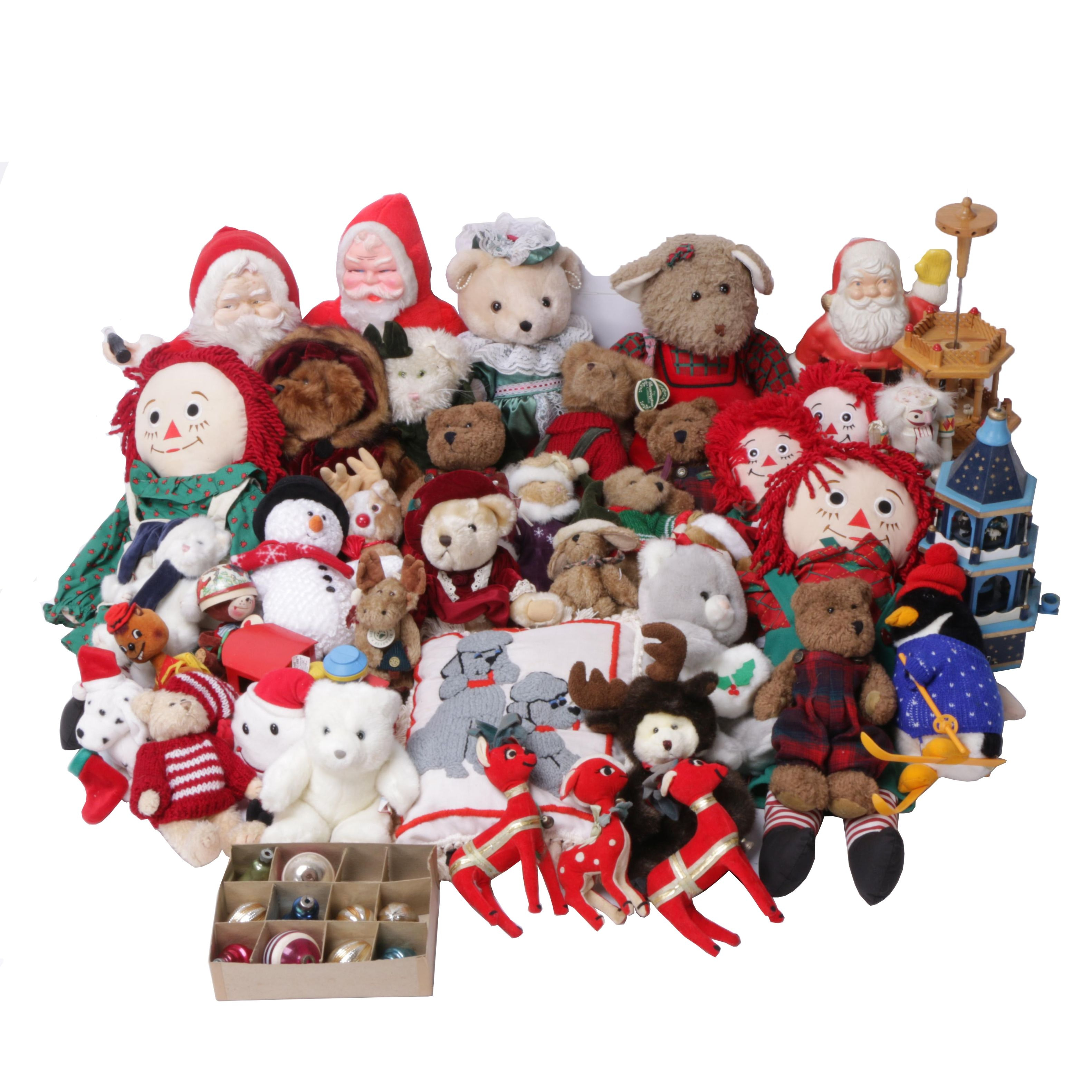 Vintage Christmas Themed Stuffed Animals, Toys, Ornaments and Dolls