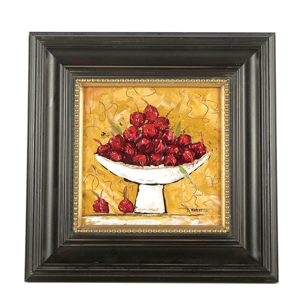 "J.J. Sneed Mixed Media Painting ""Cherries #1"""
