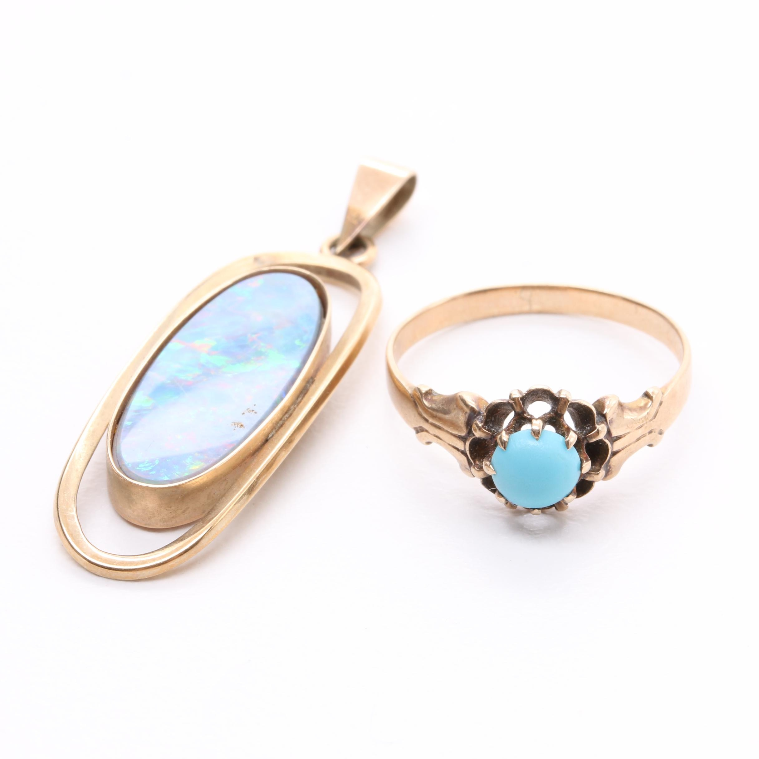 9K Yellow Gold Opal Doublet Pendant and 10K Yellow Gold Turquoise Ring