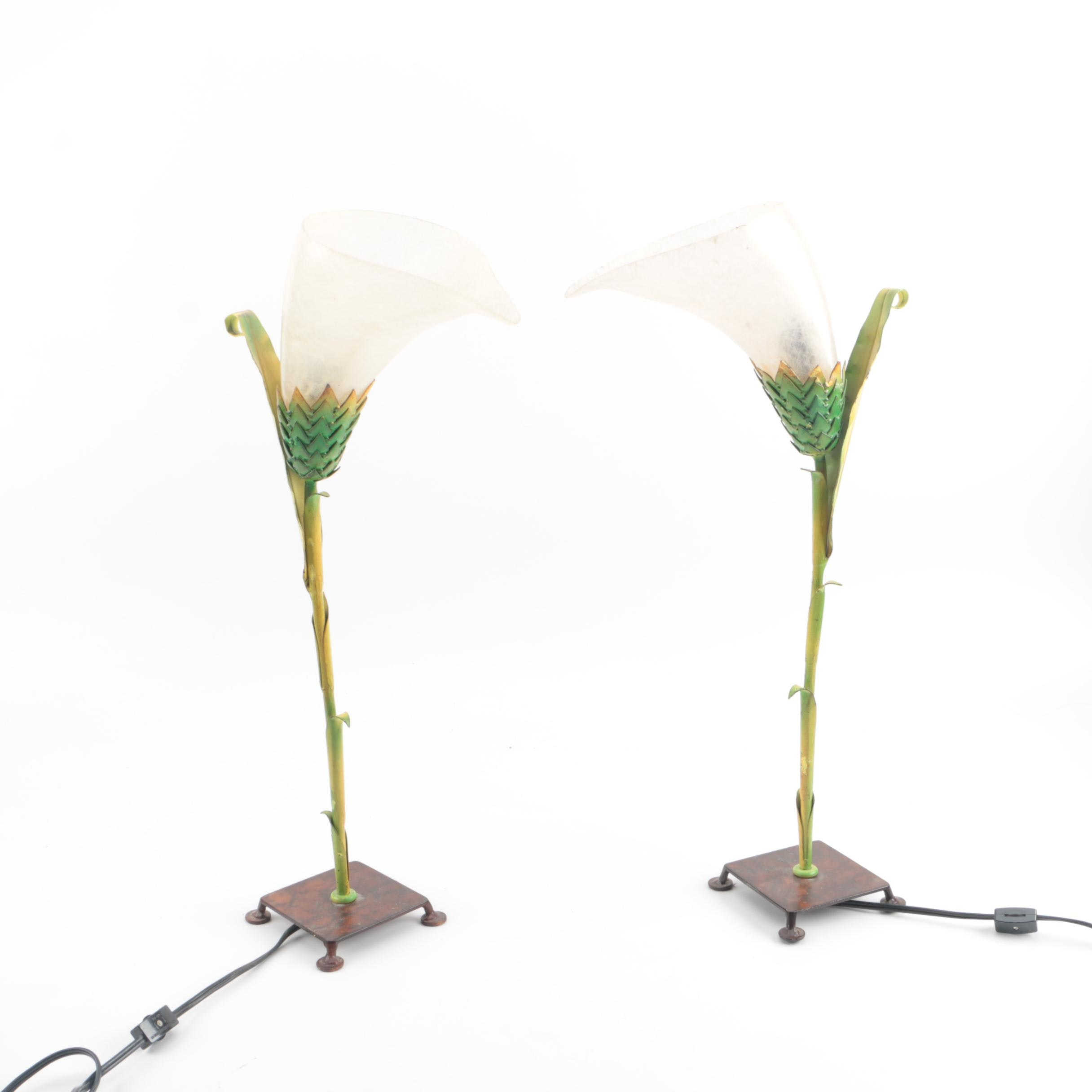 Metal Calla Lilly Accent Lamps with Fiberglass Shades