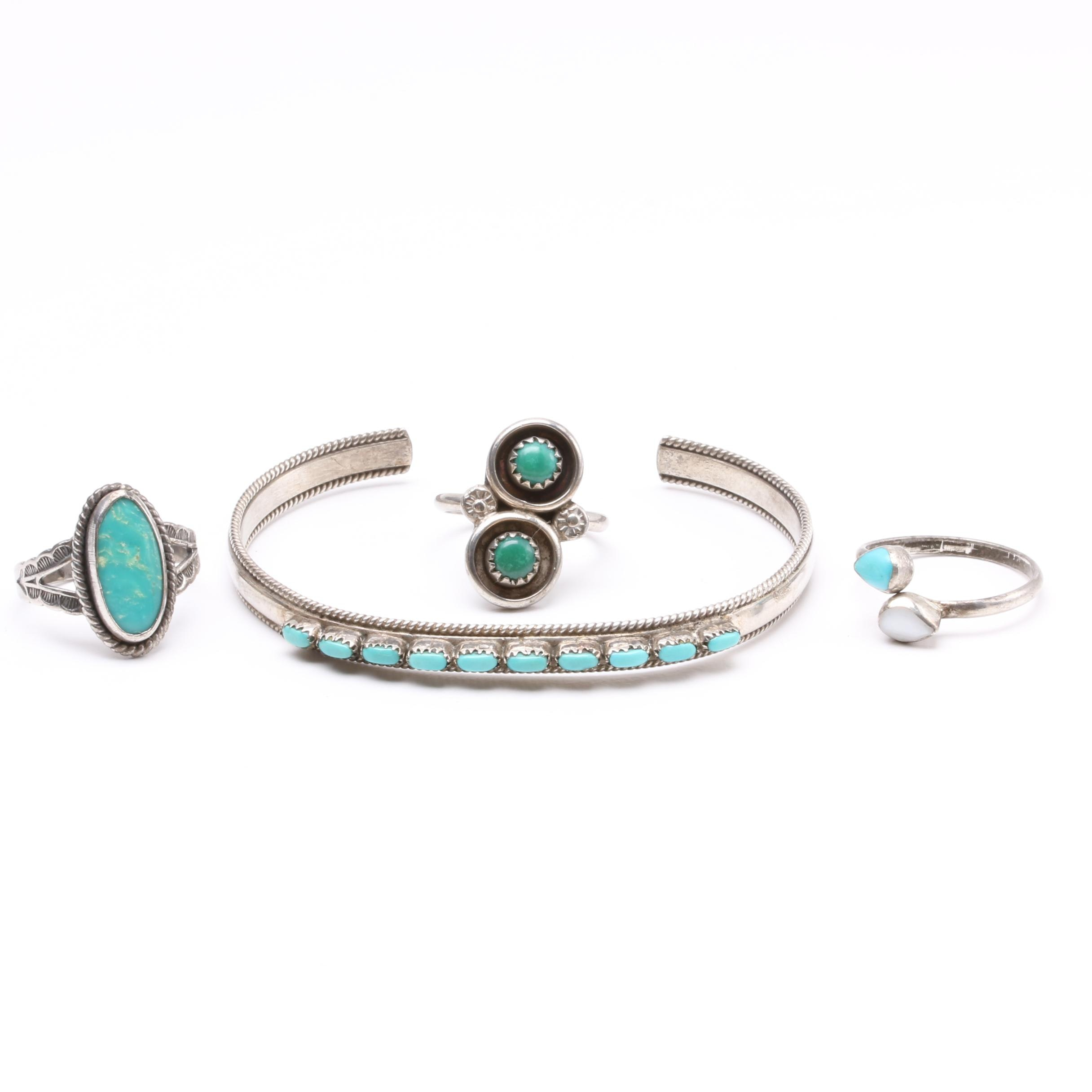 Southwestern Style Sterling Silver Jewelry Including Turquoise
