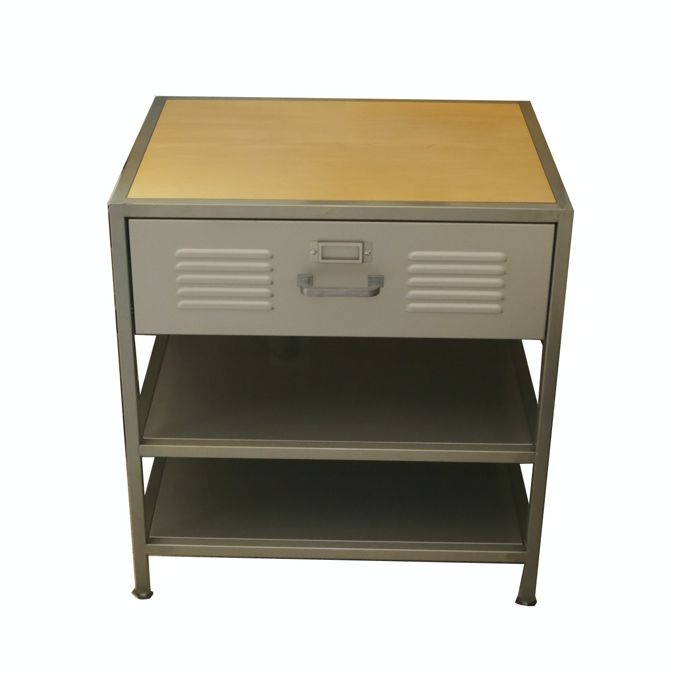 locker style nightstand with drawer and shelves : ebth Locker Style Nightstand