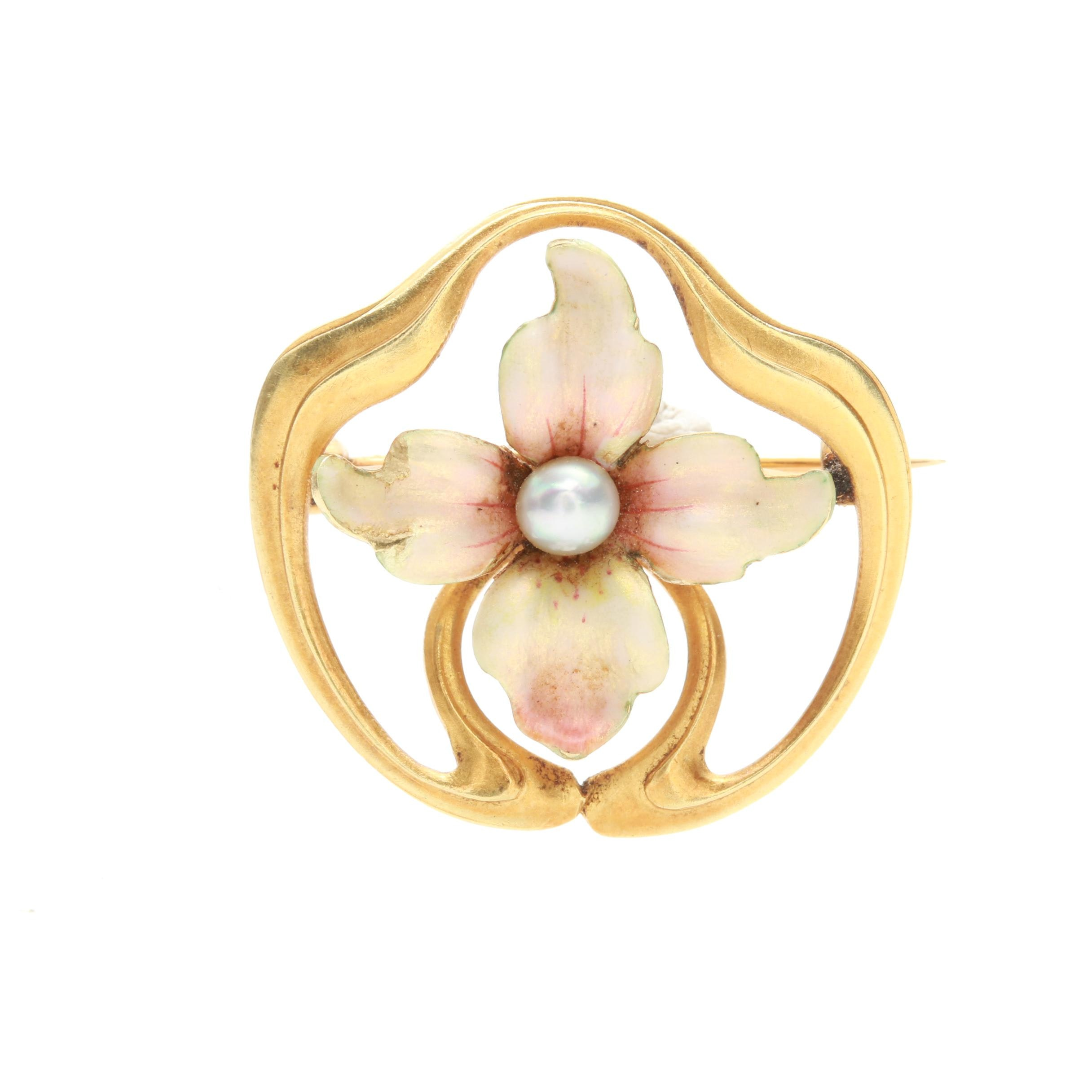 Art Nouveau 14K Yellow Gold Cultured Pearl and Enamel Brooch