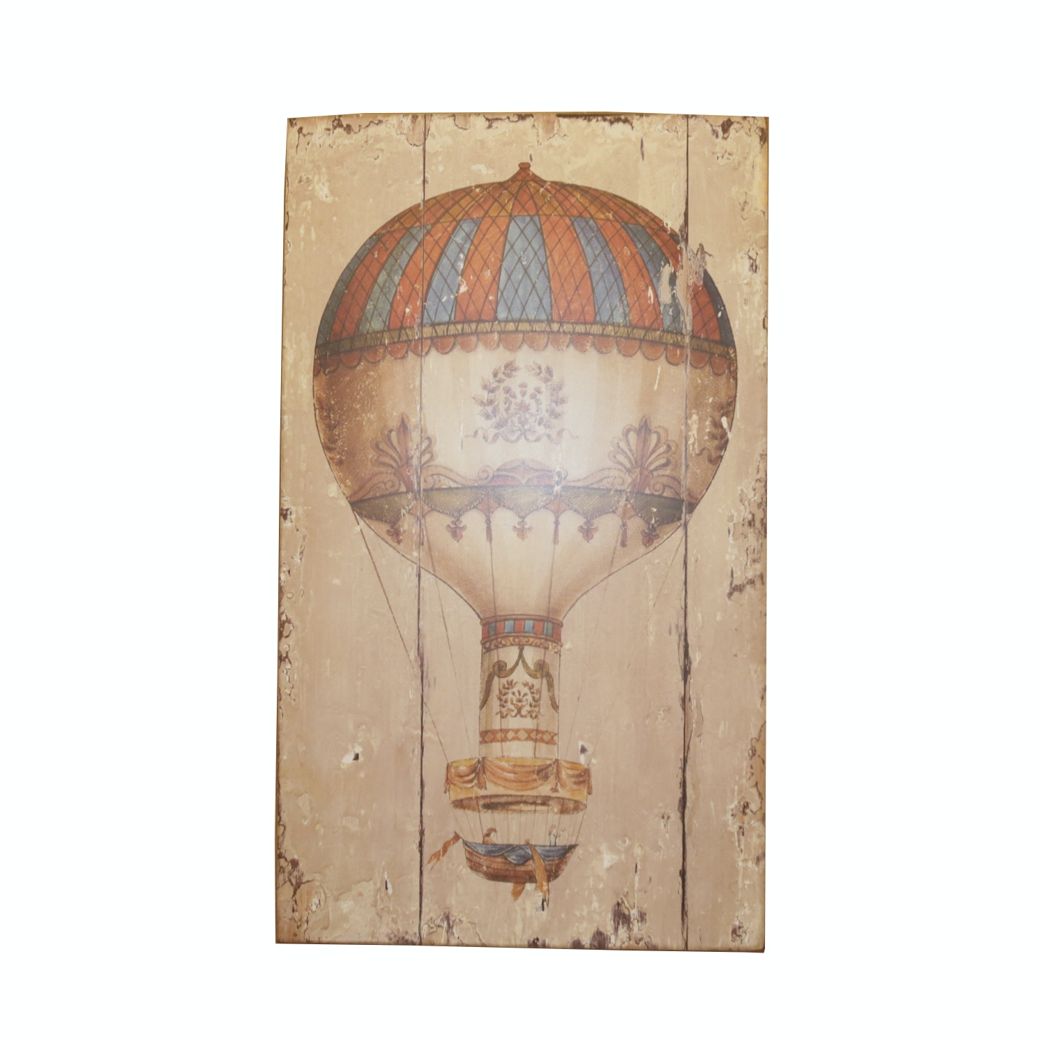 Contemporary Wooden Wall Art Featuring Print Of Vintage Hot Air Balloon ...