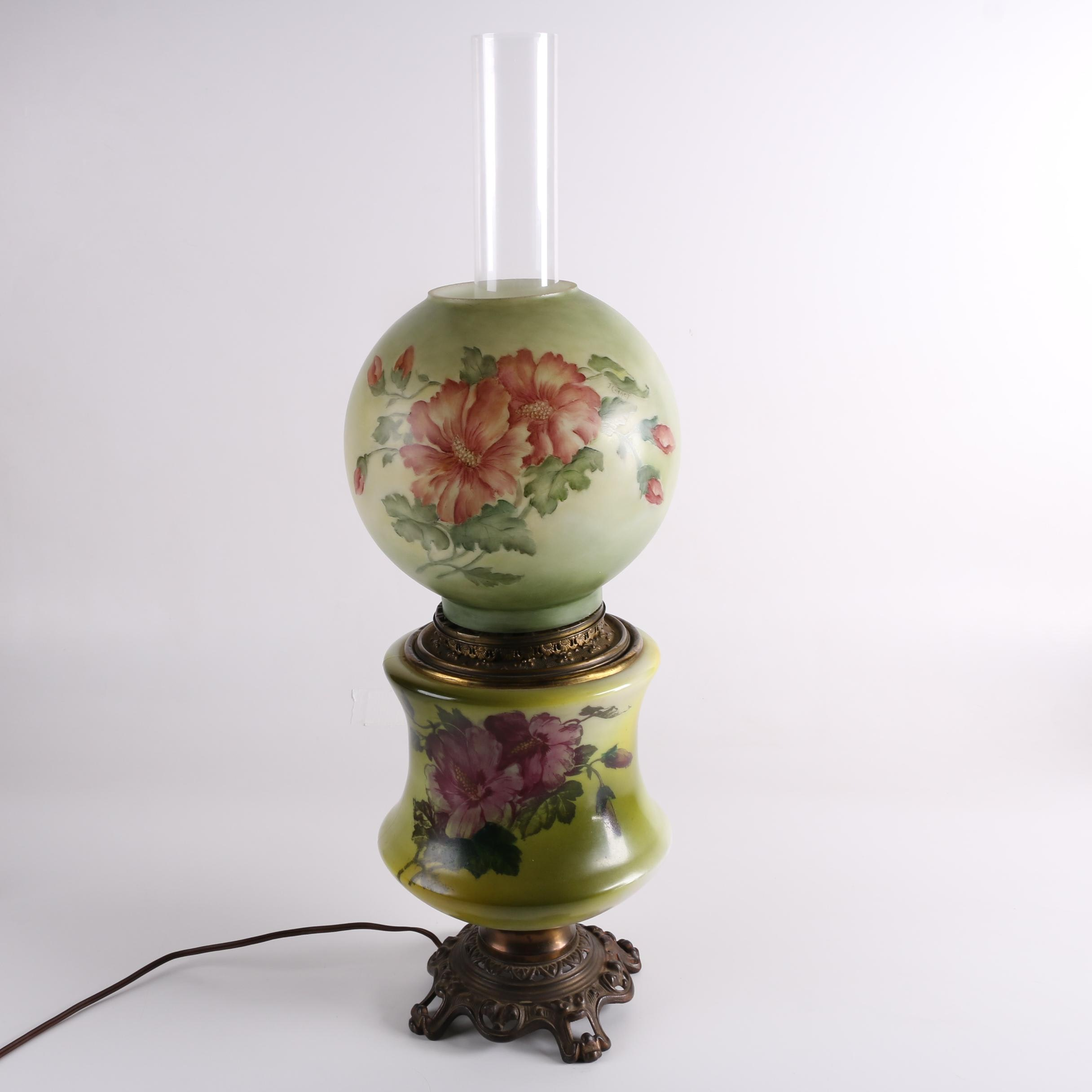 Vintage Parlor Lamp Featuring Signed Hand-Painted Ball Globe