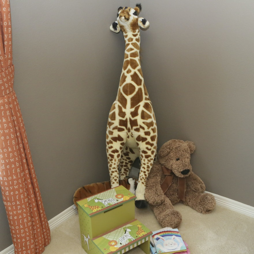 Groovy Oversized Plush Giraffe With Childrens Step Stool And Board Books Gmtry Best Dining Table And Chair Ideas Images Gmtryco