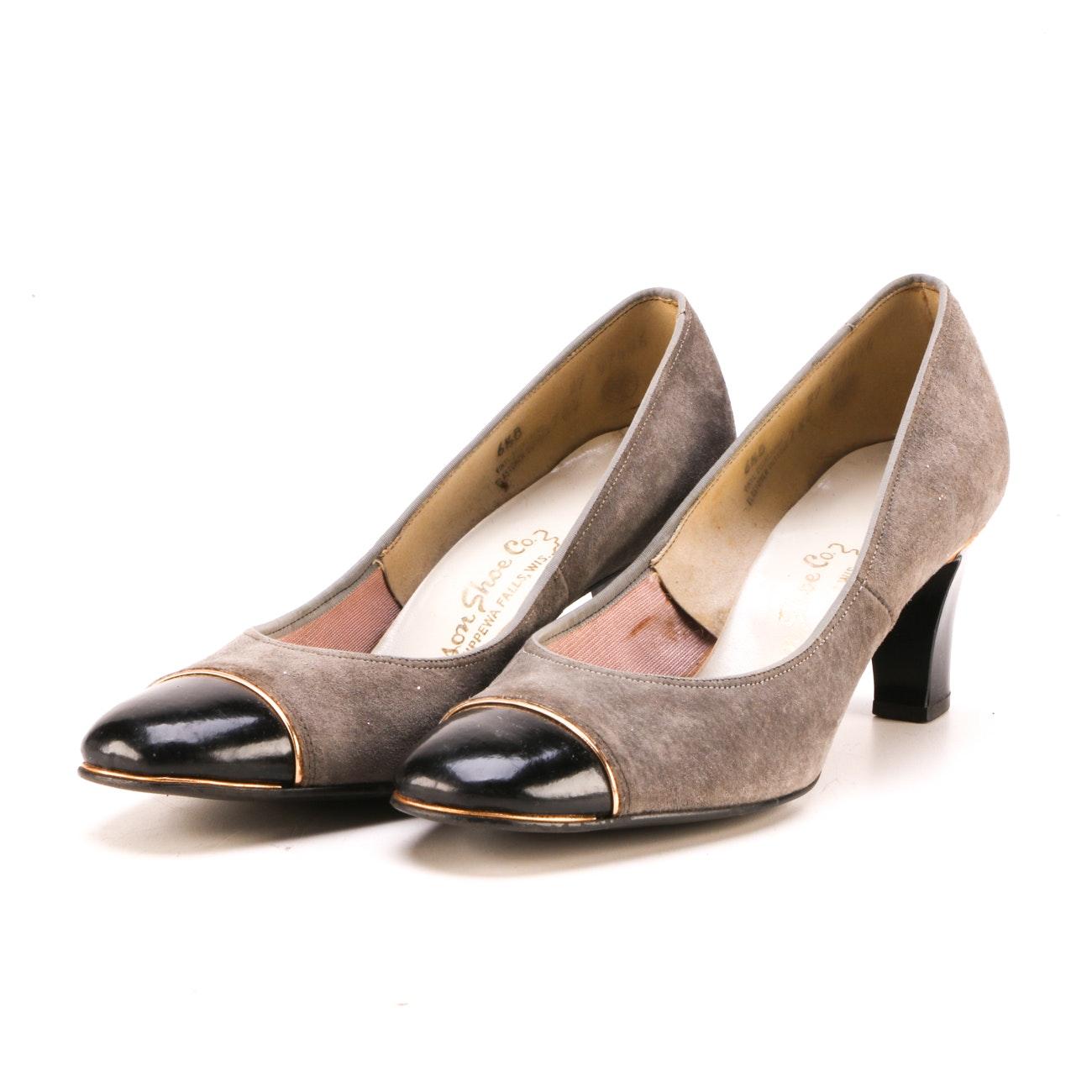 Women's Vintage Mason Shoe Company Suede and Patent Leather Pumps