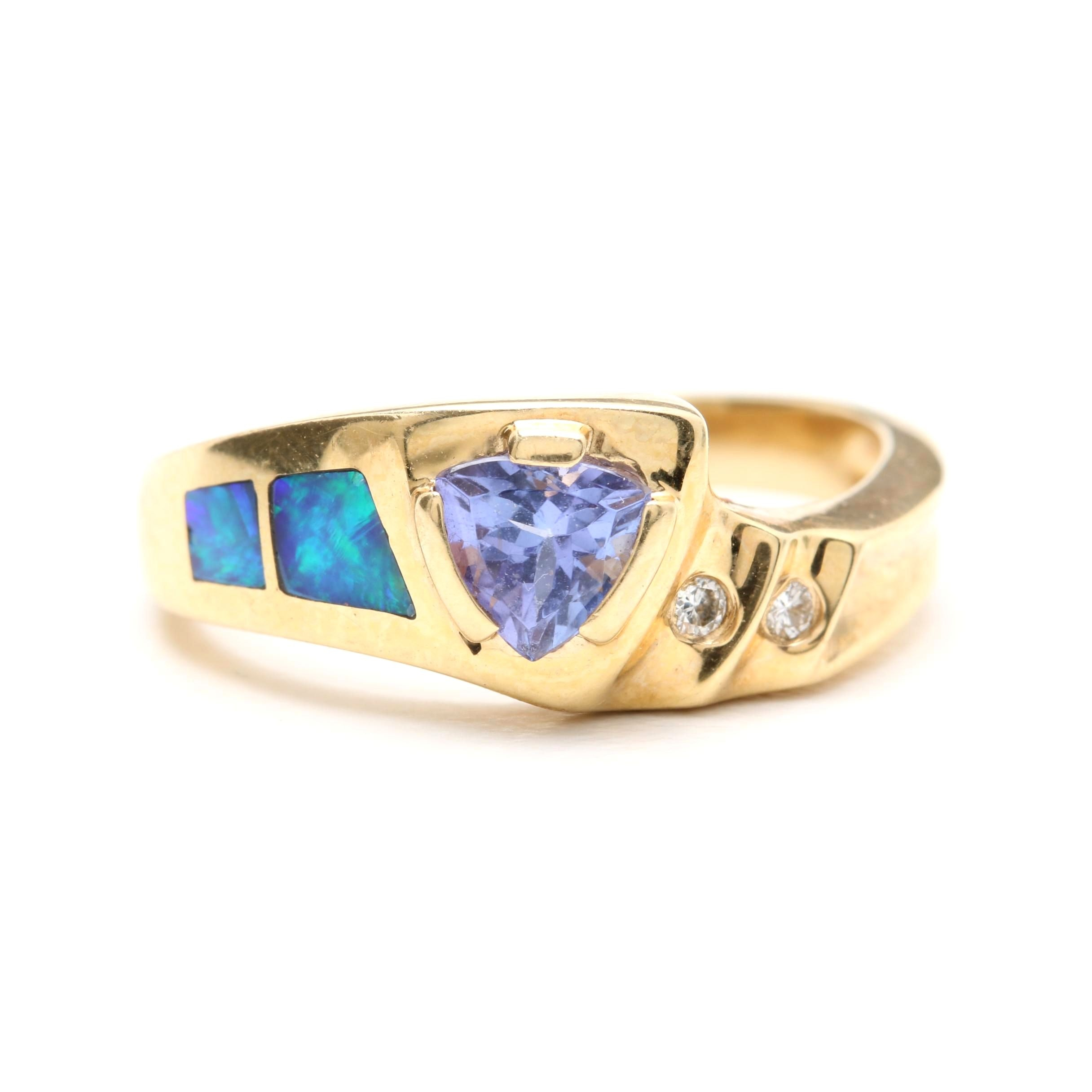 14K Yellow Gold Tanzanite, Opal Doublet, and Diamond Ring