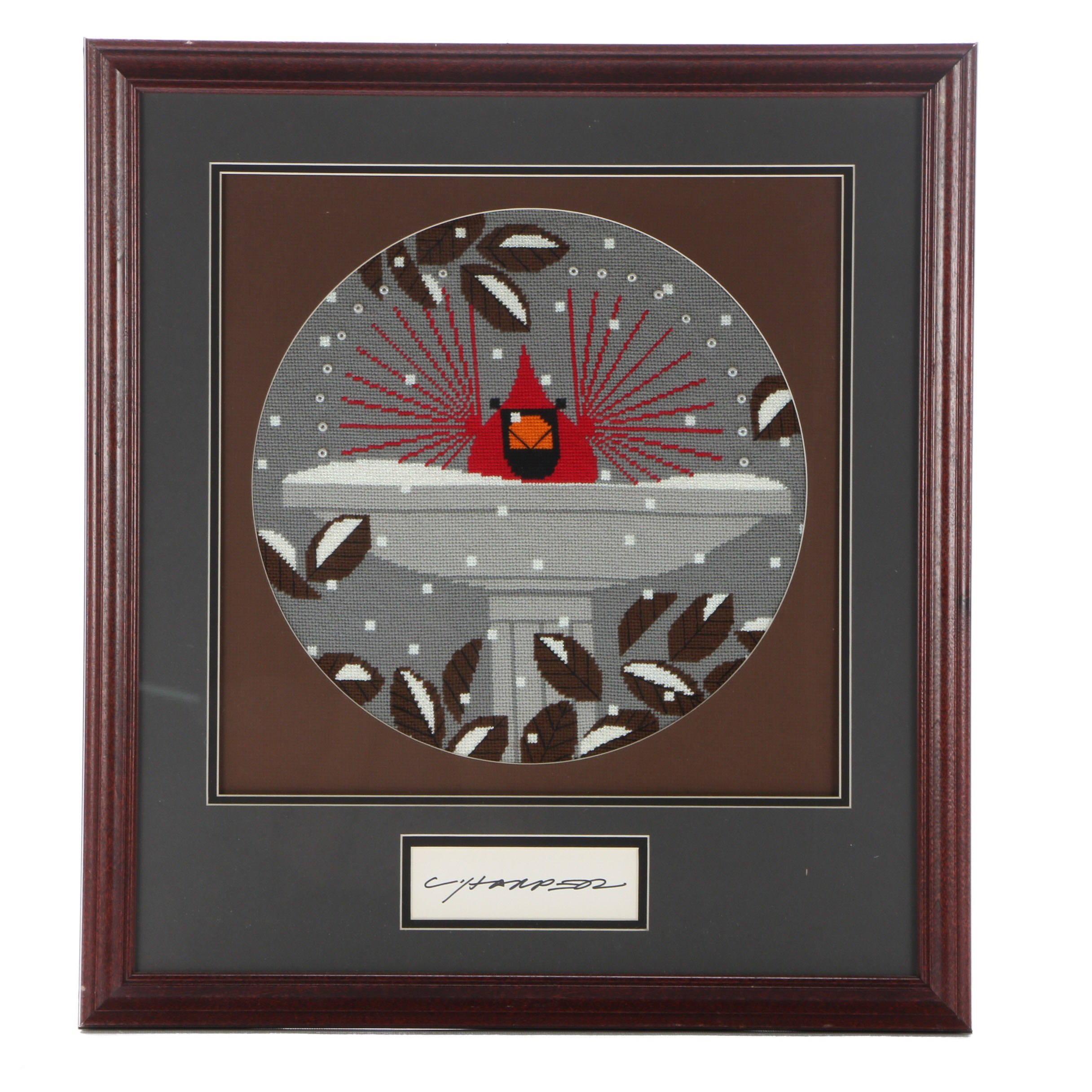 "Signed Needlepoint after Charley Harper ""Birdbath"""