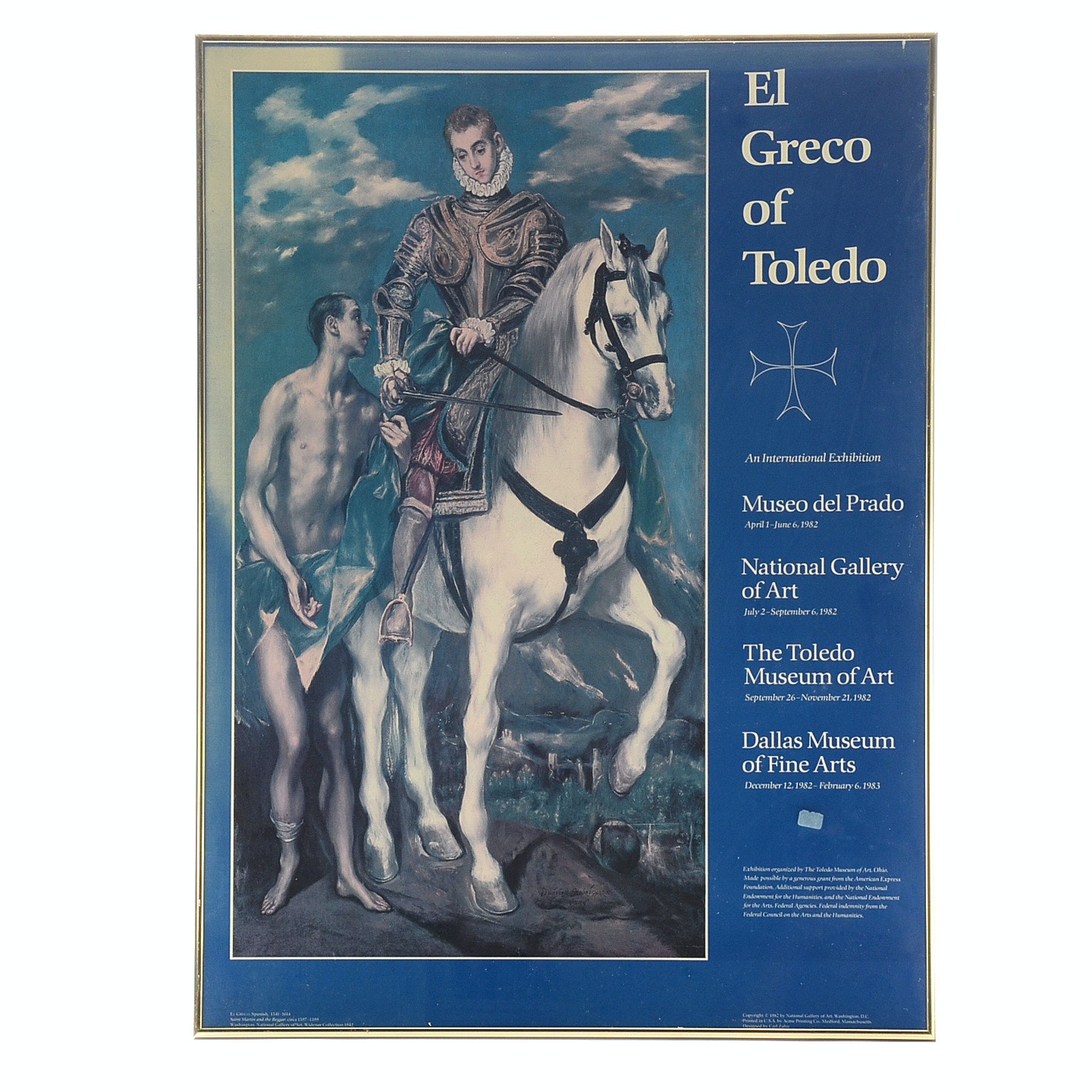 1982 El Greco of Toledo Framed Museum Exhibit Poster