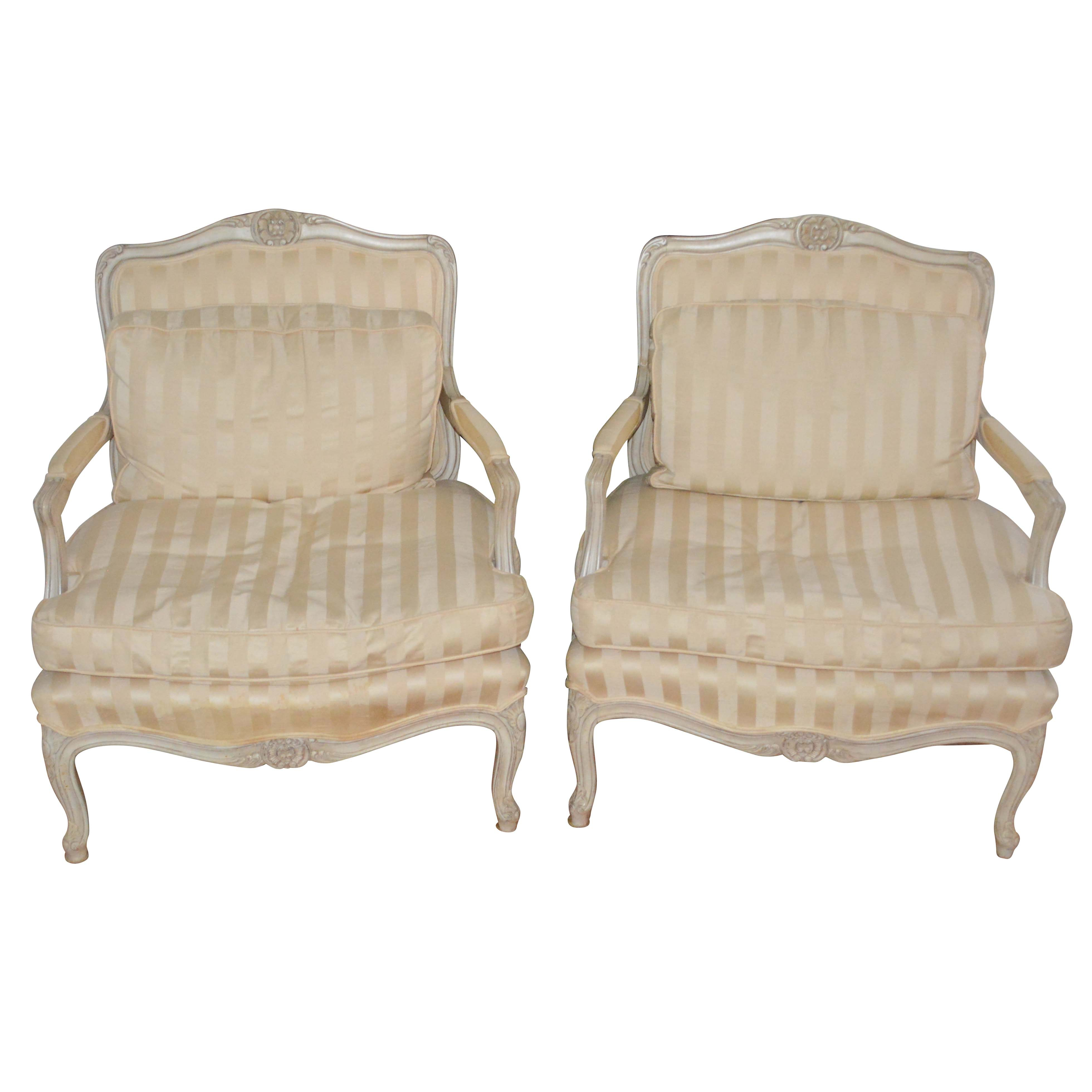 Cream Louis XV Style Bergère Pair