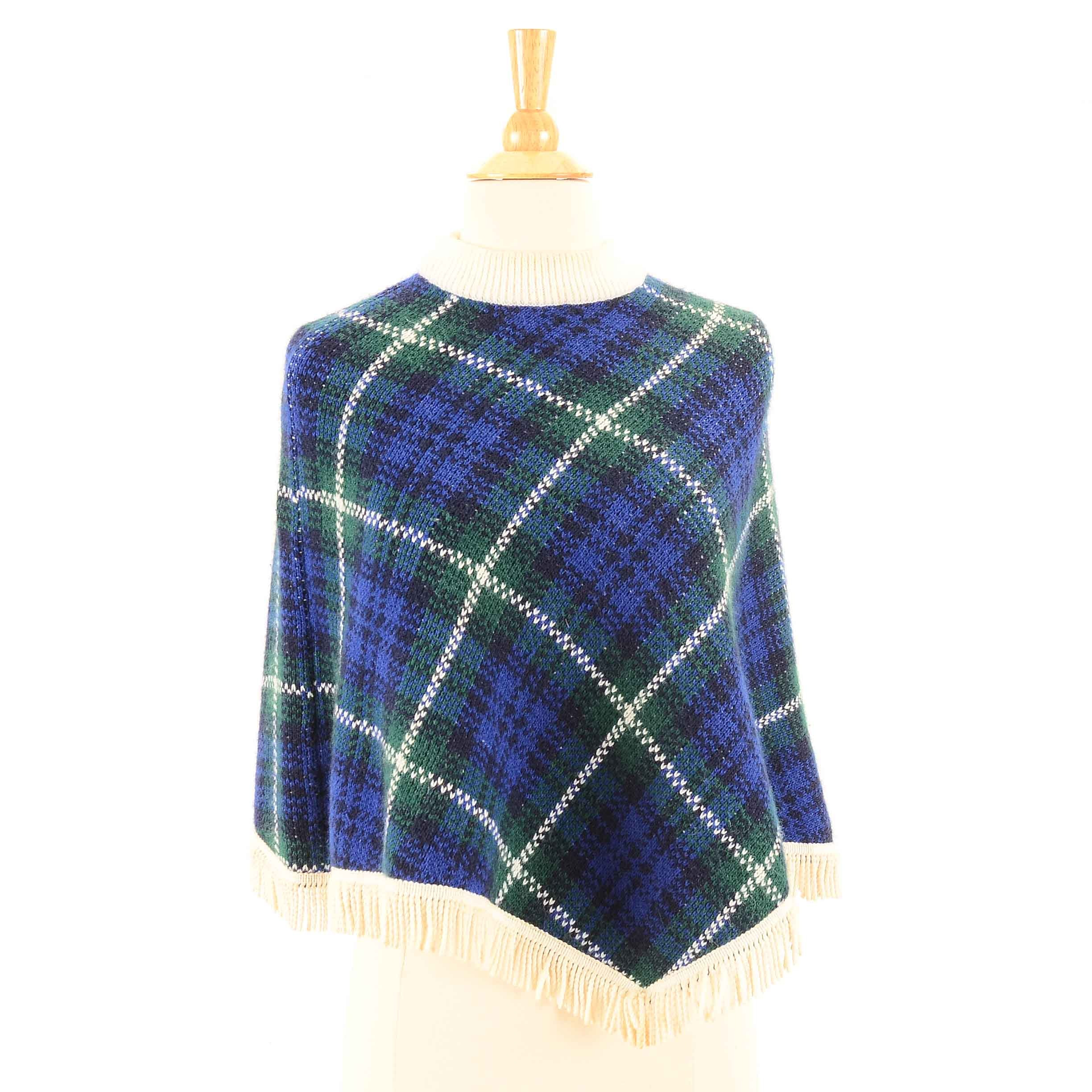 Vintage St. Michael Plaid Knit Poncho with Fringe