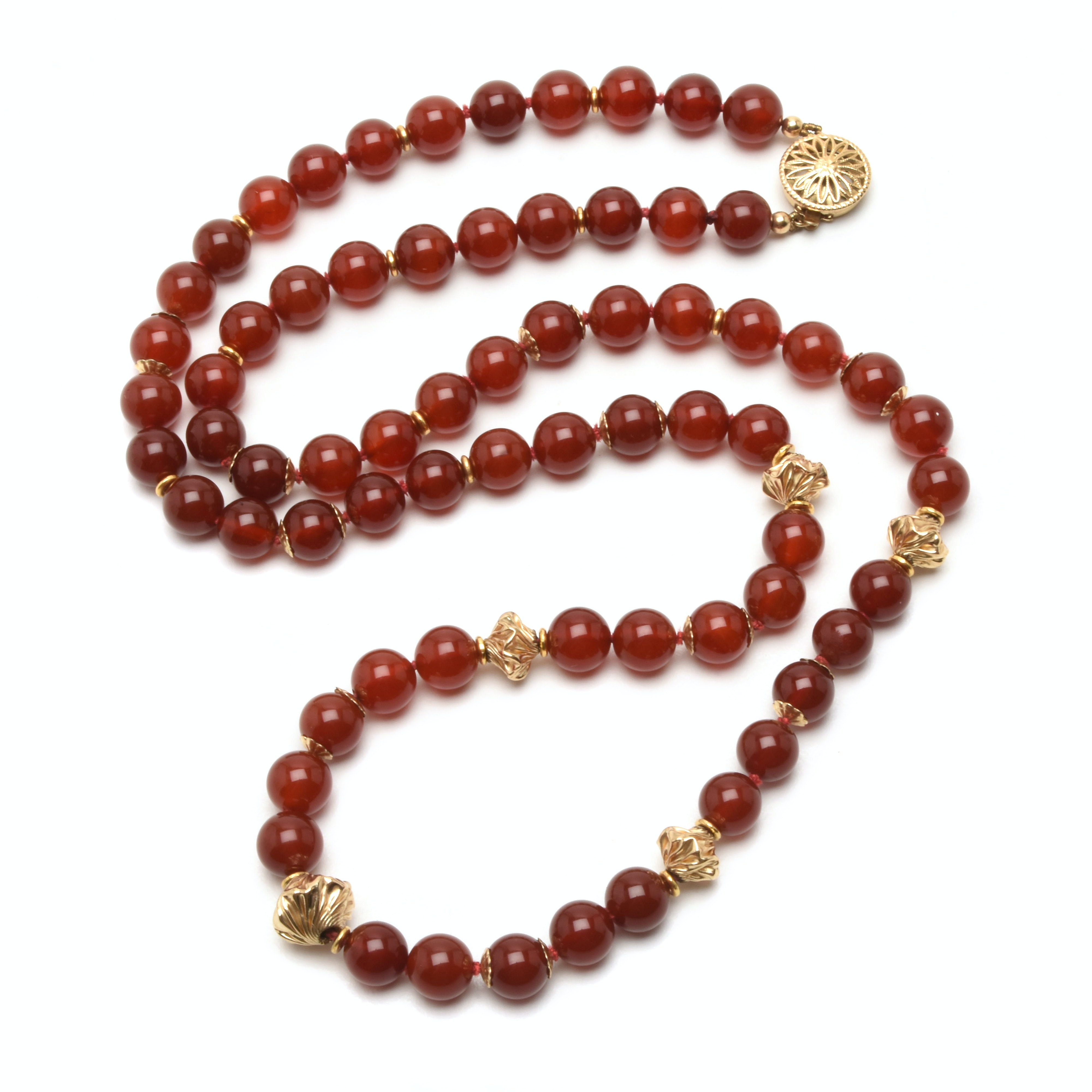 Single Strand Carnelian Necklace with Gold Filled Clasp