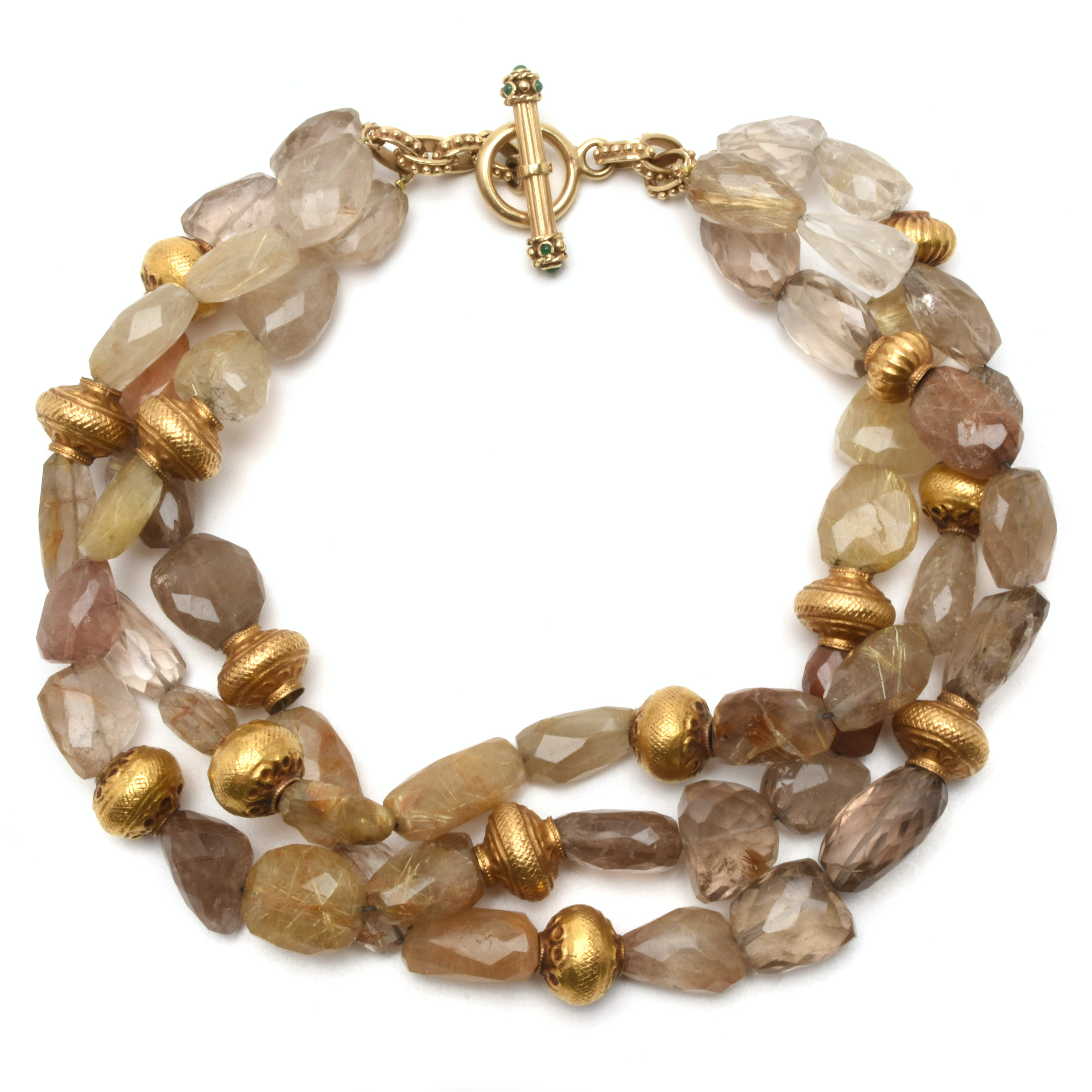 Three-Strand Rutilated Quartz Necklace with 14K Yellow Gold Emerald Necklace
