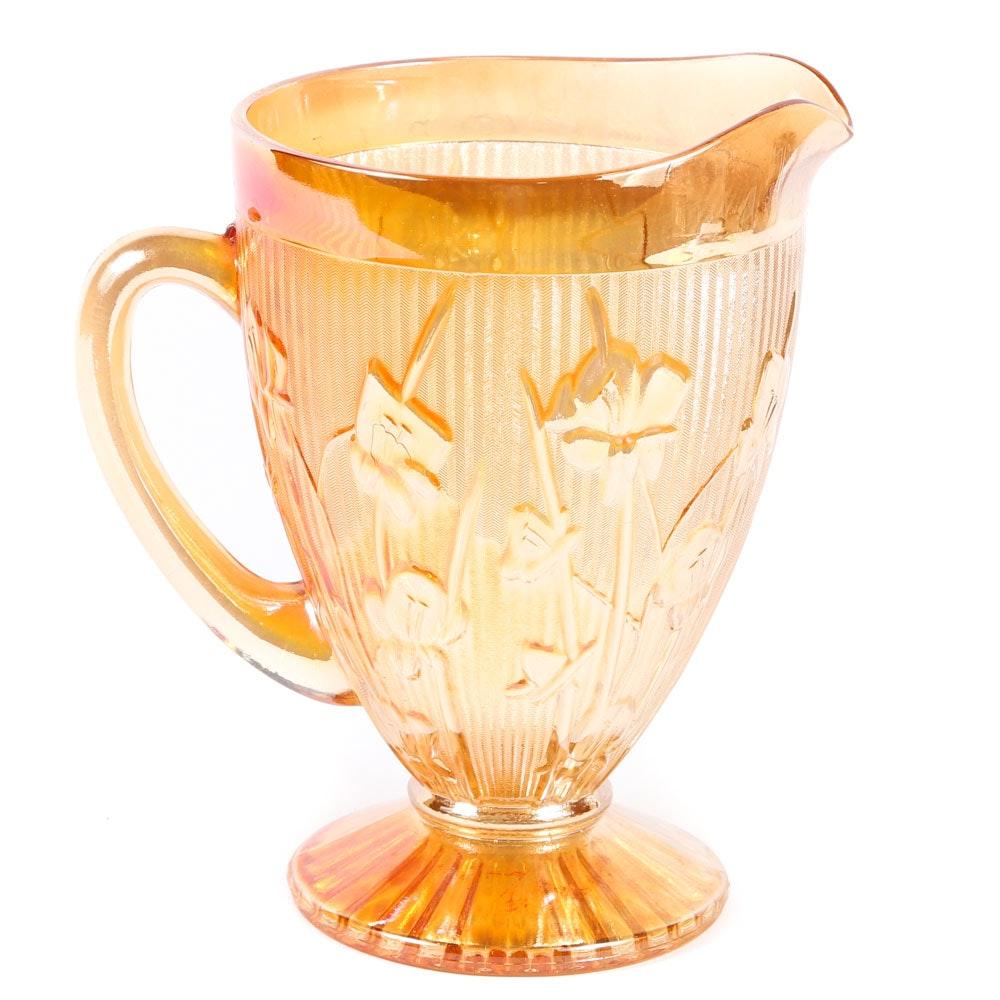 Jeannette Glass Iris and Herringbone Marigold Glass Pitcher