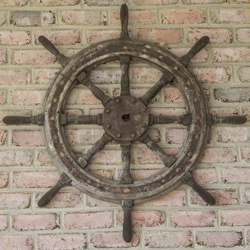 Vintage Wooden Ship's Wheel Wall Hanging