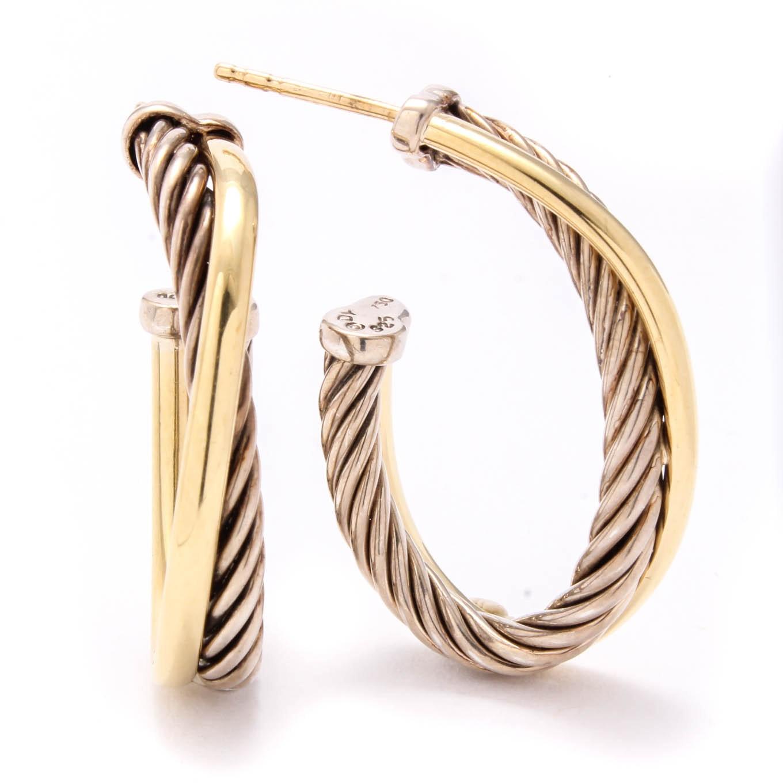 David Yurman Sterling Silver and 18K Yellow Gold Hoop Earrings