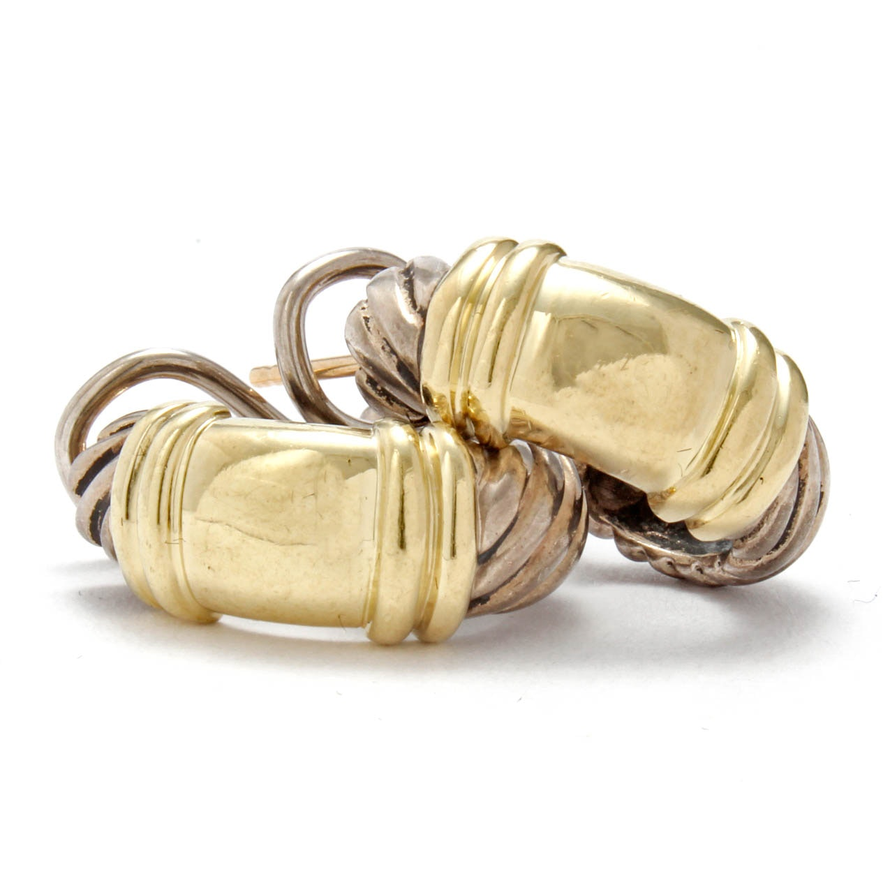 David Yurman Sterling Silver with 14K Yellow Gold Accented Earrings