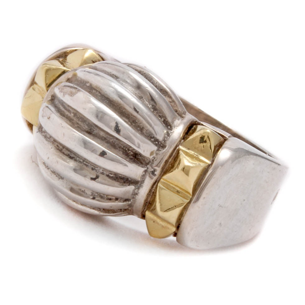 Lagos Caviar Sterling Silver 18K Yellow Gold Accented Ring