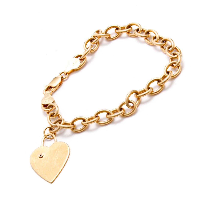 14K Yellow Gold Diamond Heart Charm Bracelet