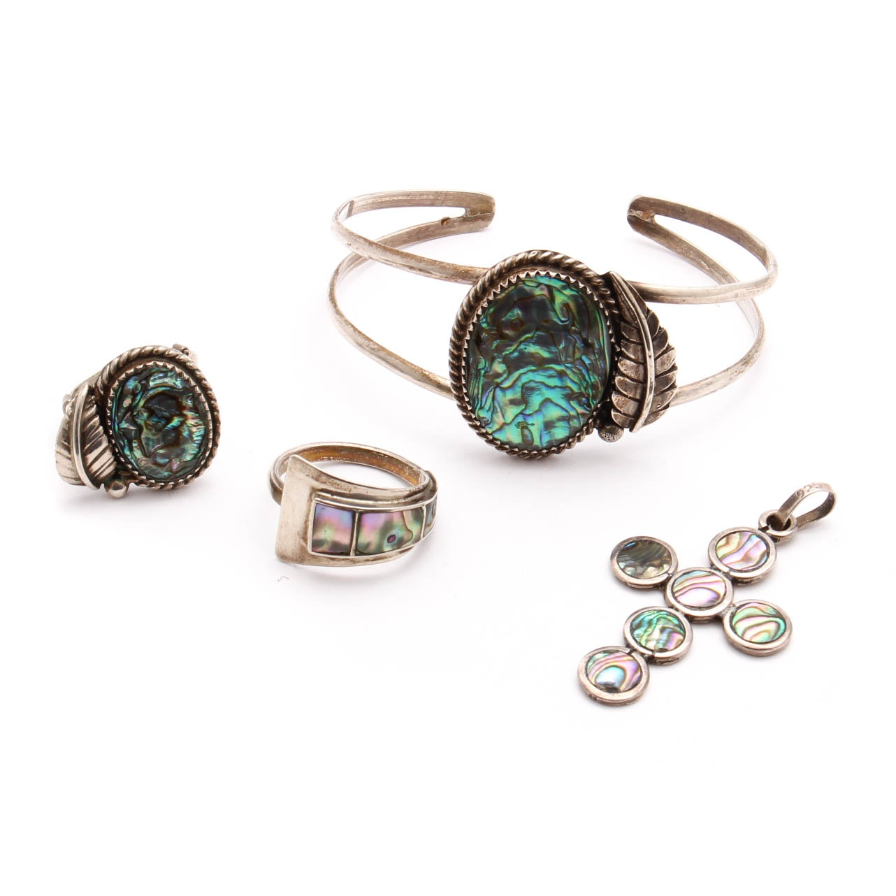 Sterling Silver Abalone Accented Jewelry