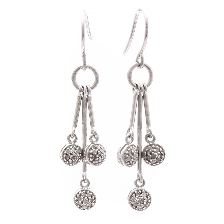 David Yurman Sterling Silver Diamond Dangle Earrings
