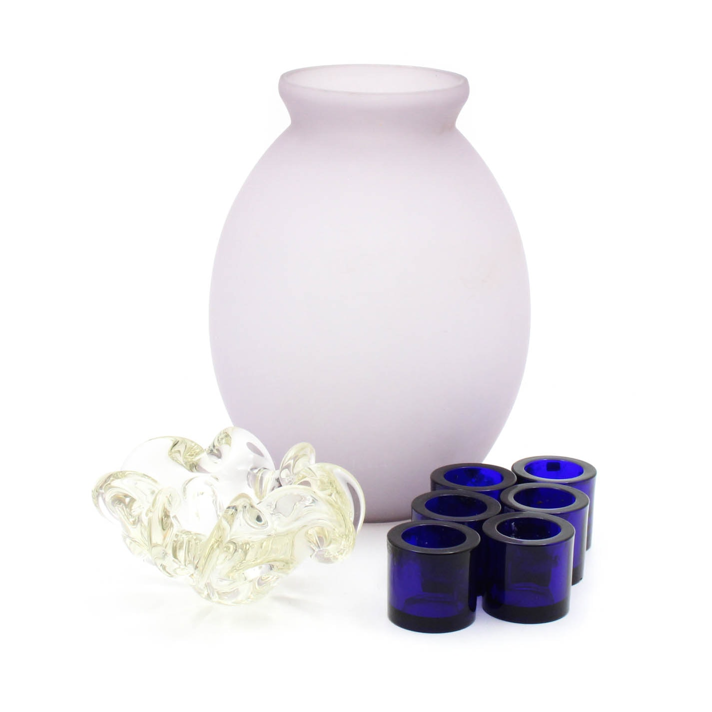Hand Blown Glass Vase, Blue Glass Votives and Murano Style Scalloped Bowl