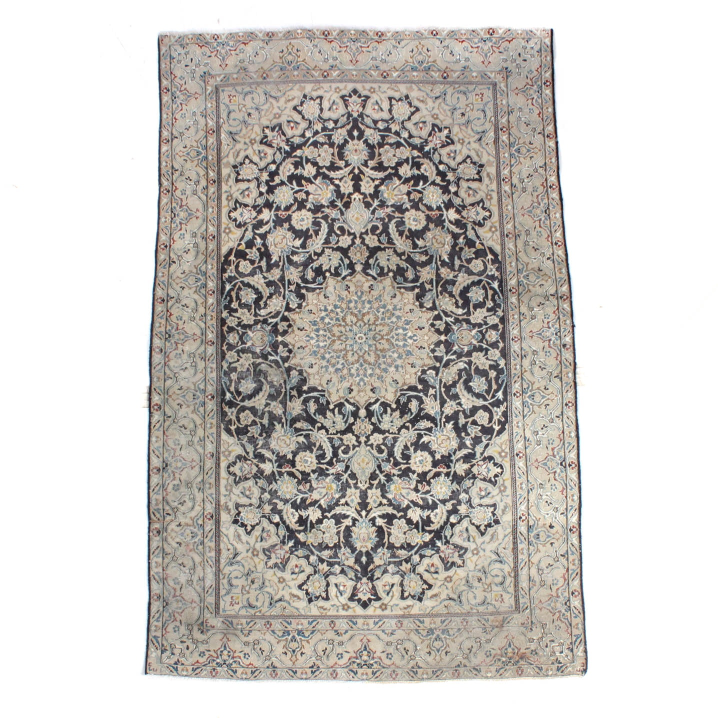 Vintage Hand-Knotted Silk Blend Persian Nain Area Rug
