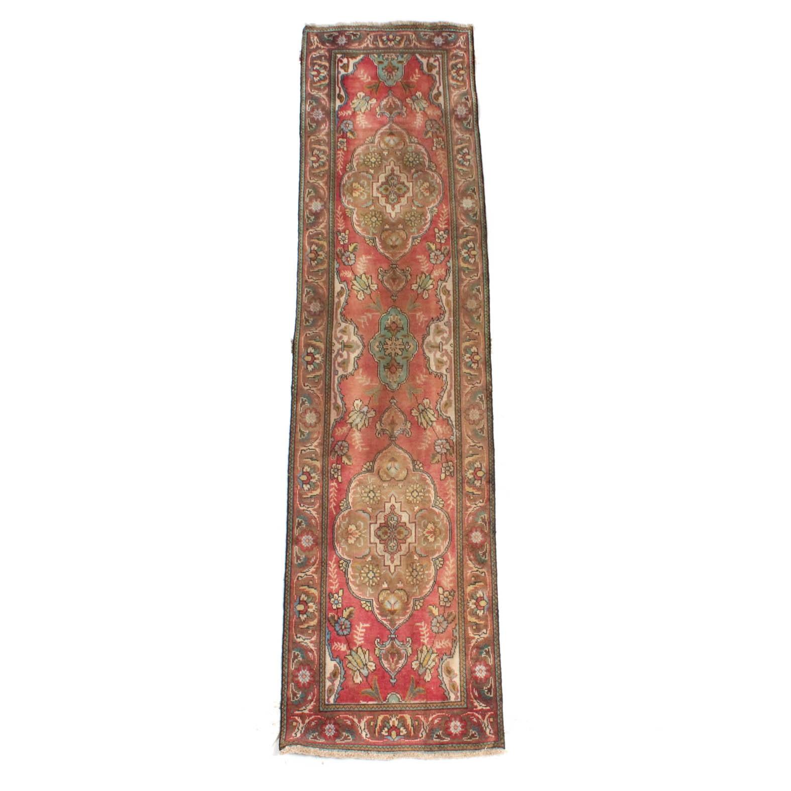 Vintage Hand-Knotted Persian Tabriz Carpet Runner