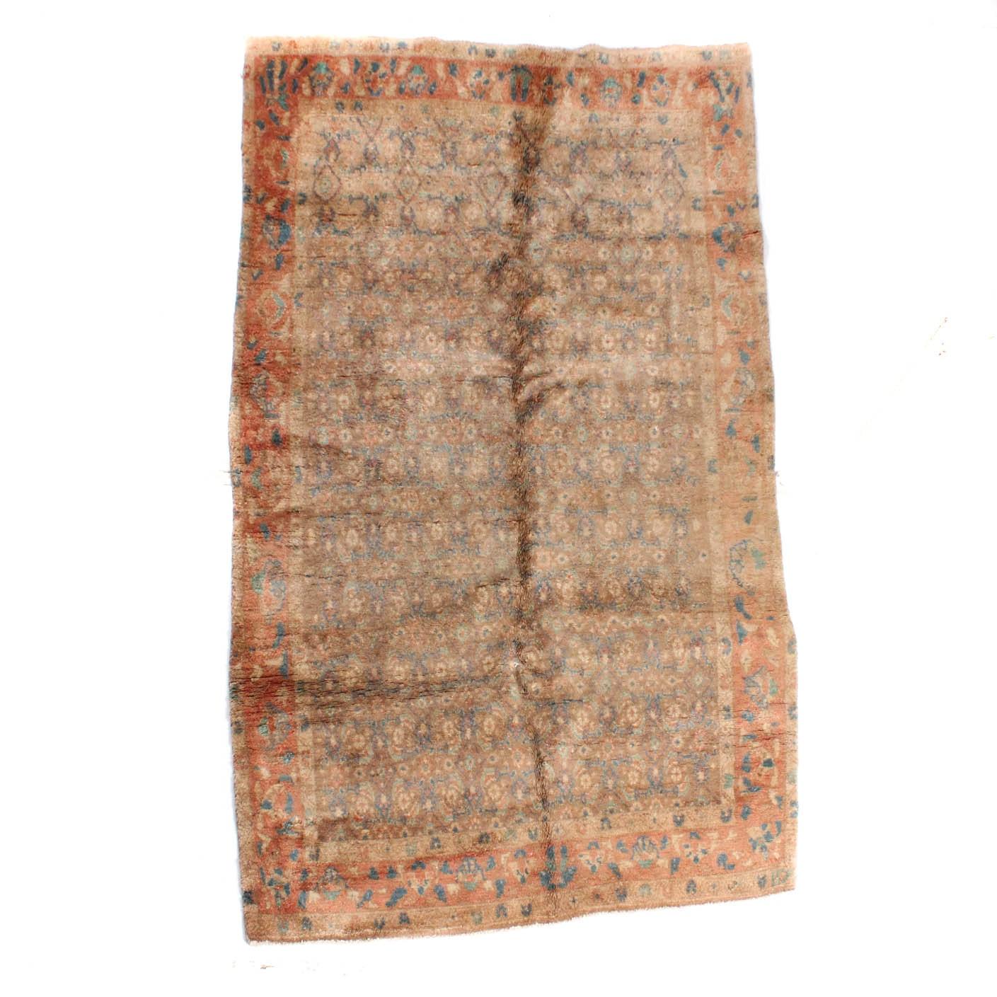 Vintage Hand-Knotted Persian Lilihan Sarouk Area Rug