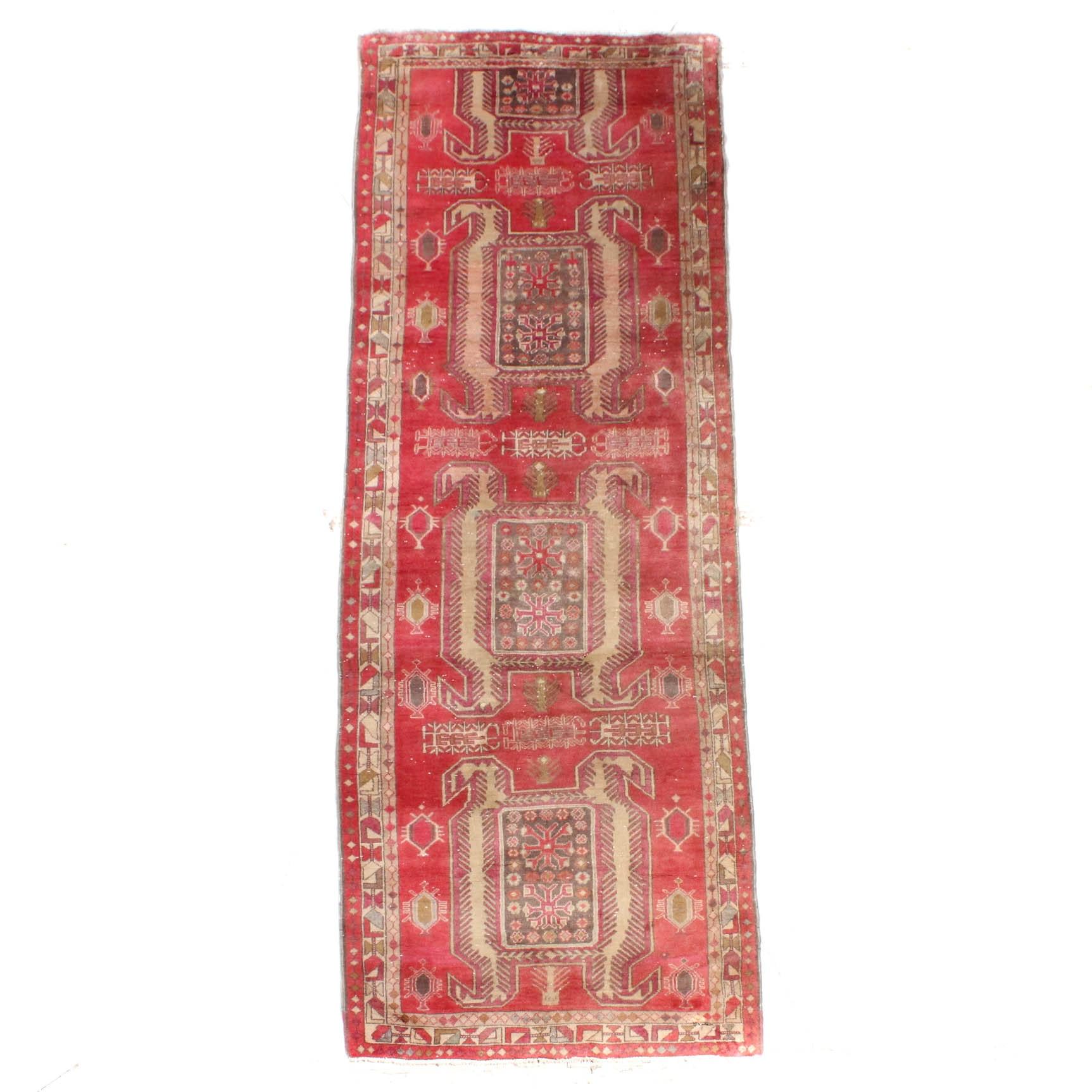 Vintage Hand-Knotted Persian Heriz Rug Runner