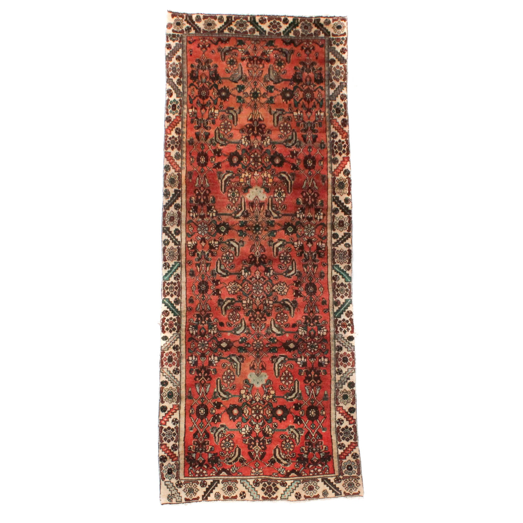 Vintage Hand-Knotted Persian Malayer Sarouk Rug Runner