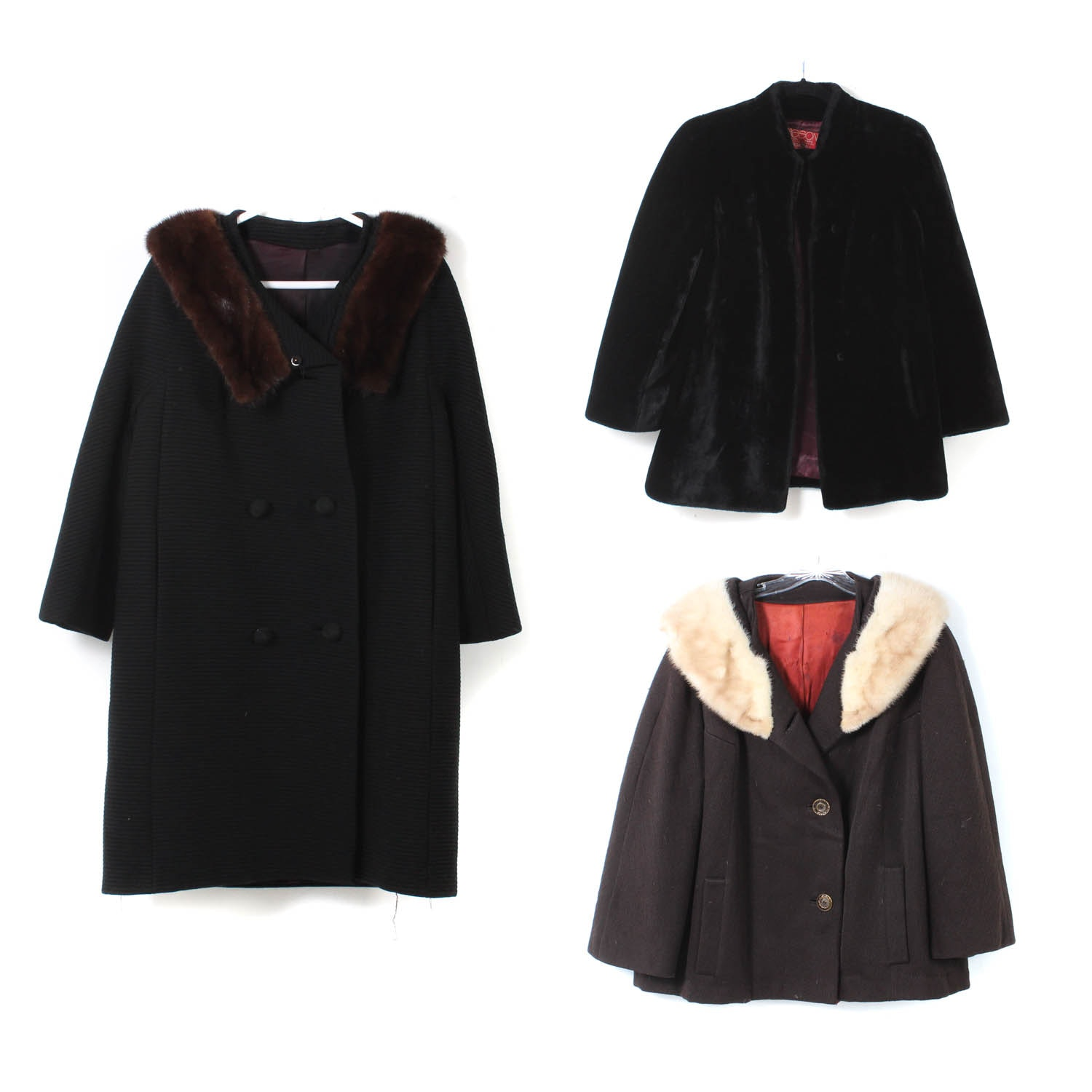 Women's Vintage Outerwear Featuring Mink Fur Collars