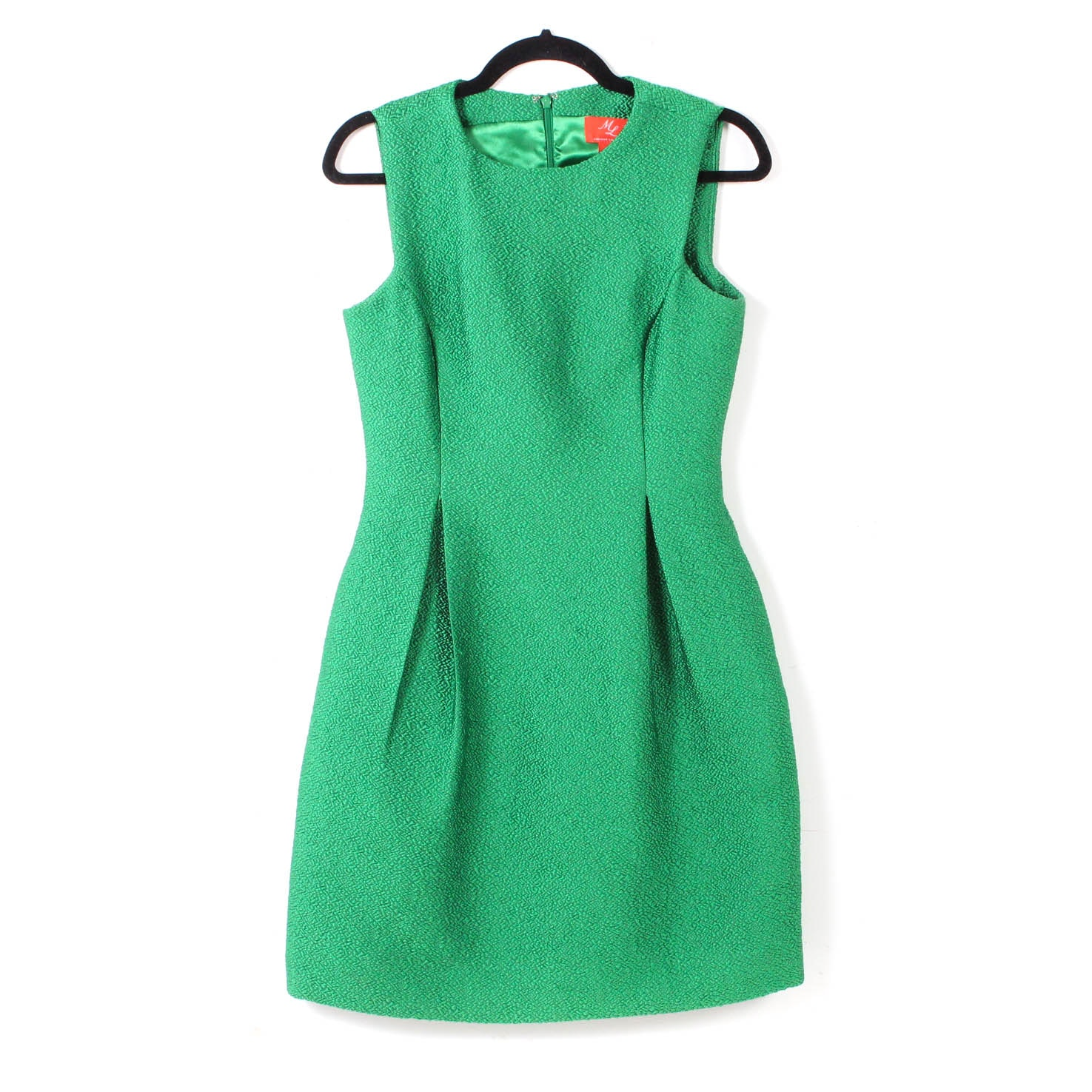 Monique Lhuillier Textured Fit and Flare Green Sleeveless Dress