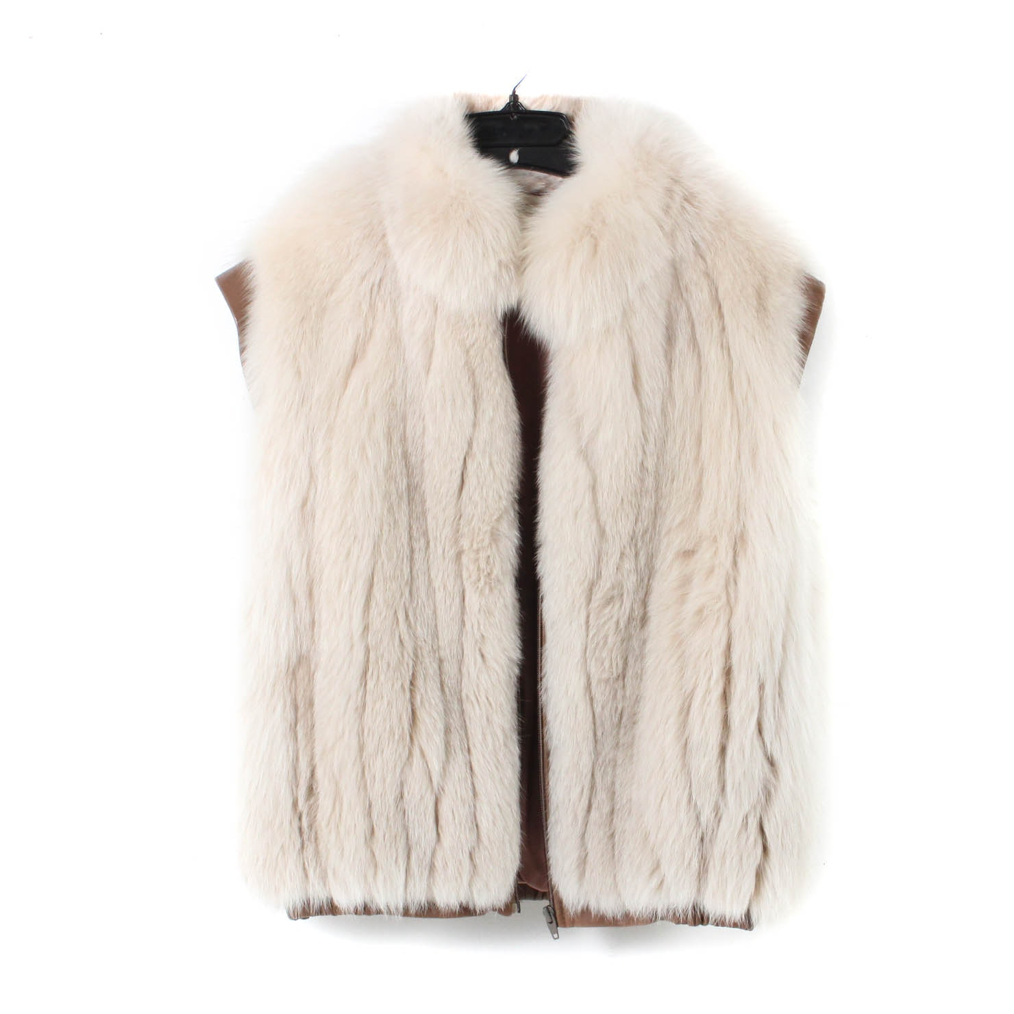 Fox Fur Vest with Pleather Trim
