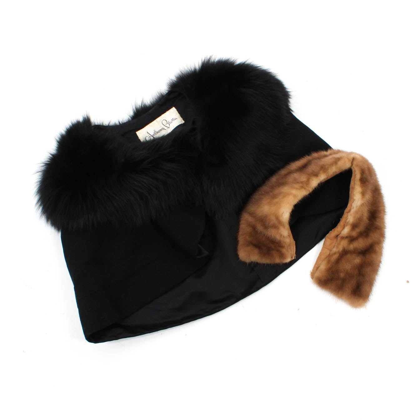 Vintage Anthony Blotta Black Fox Fur Collared Wool Capelet and a Mink Fur Collar