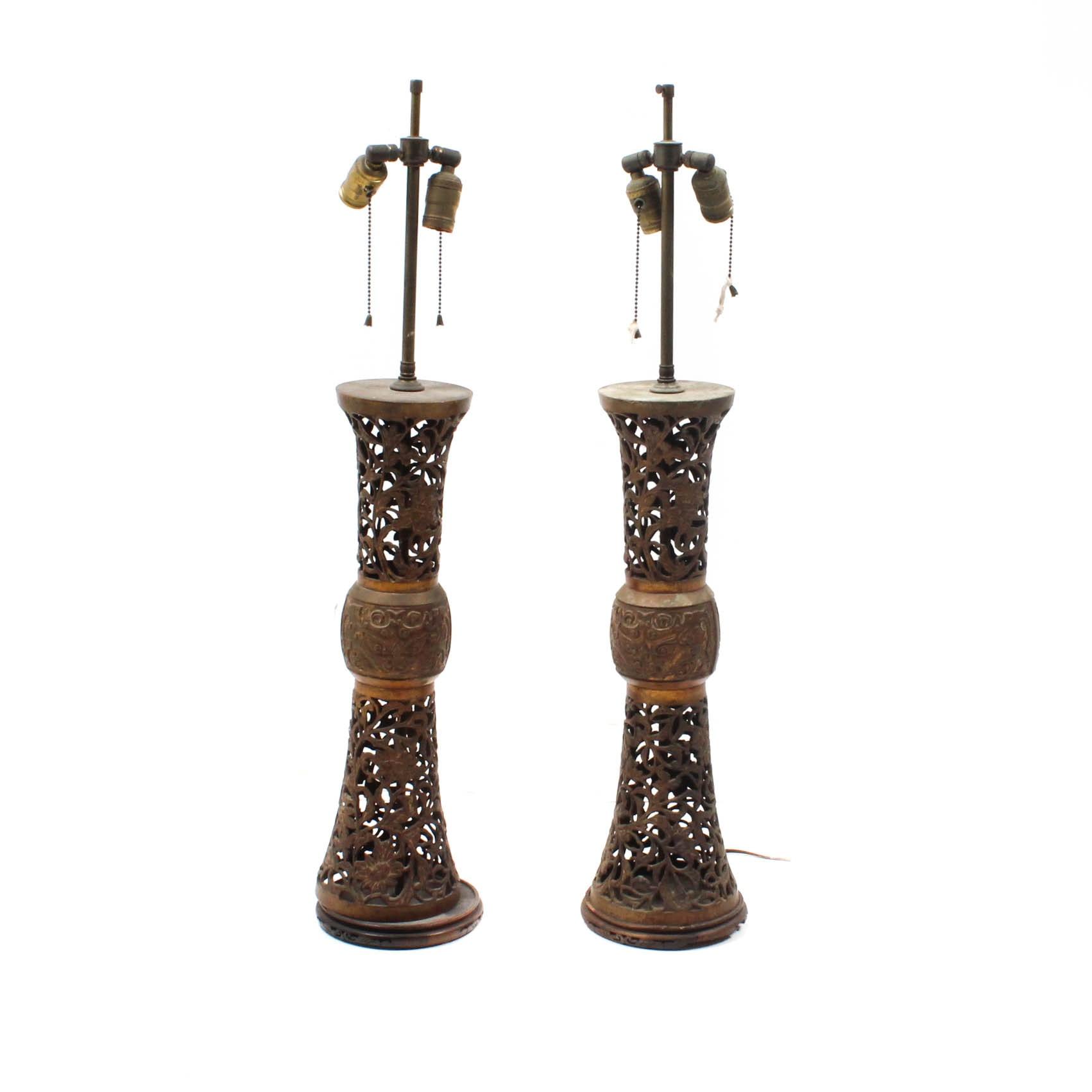 Chinese Reticulated Metal Gu Vase Lamps