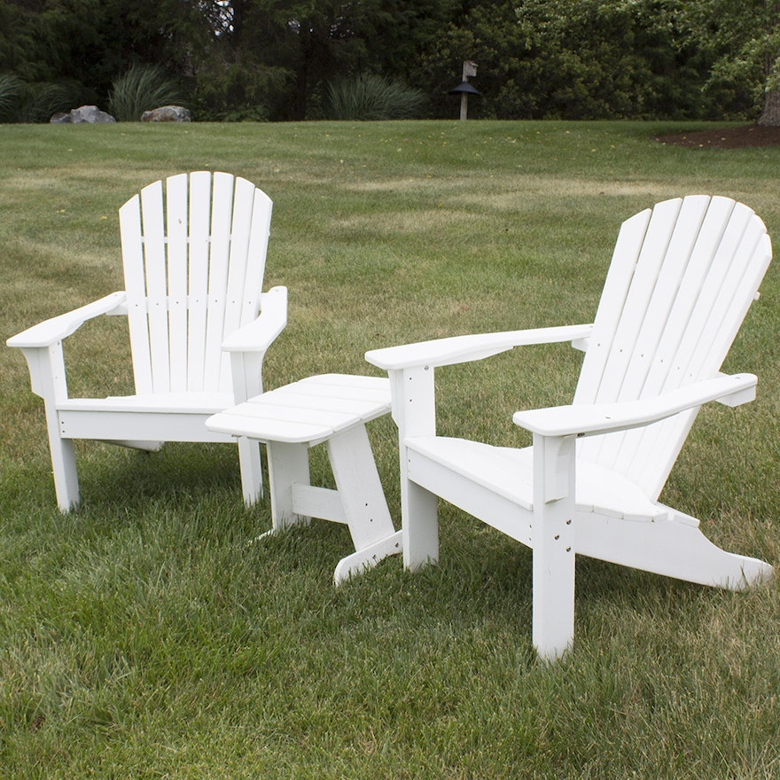 Excellent White Painted Adirondack Chairs And Side Table By Seaside Casual Furniture Co Ncnpc Chair Design For Home Ncnpcorg